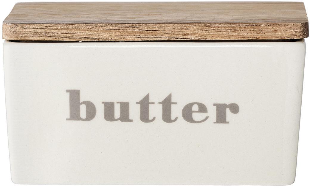Butterdose Bamboo, Behälter: Steingut, Deckel: Bambus, Dose: Gebrochenes Weiß, Beige Deckel: Bambus, 13 x 7 cm
