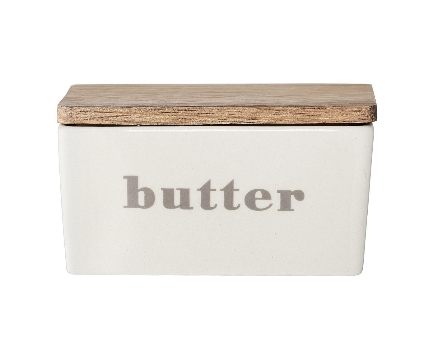 Burriera Bamboo, Contenitore: gres, Coperchio: legno di bambù, Contenitore: bianco latte, beige Coperchio: bambù, Larg. 13 x Alt. 7 x Prof. 9 cm