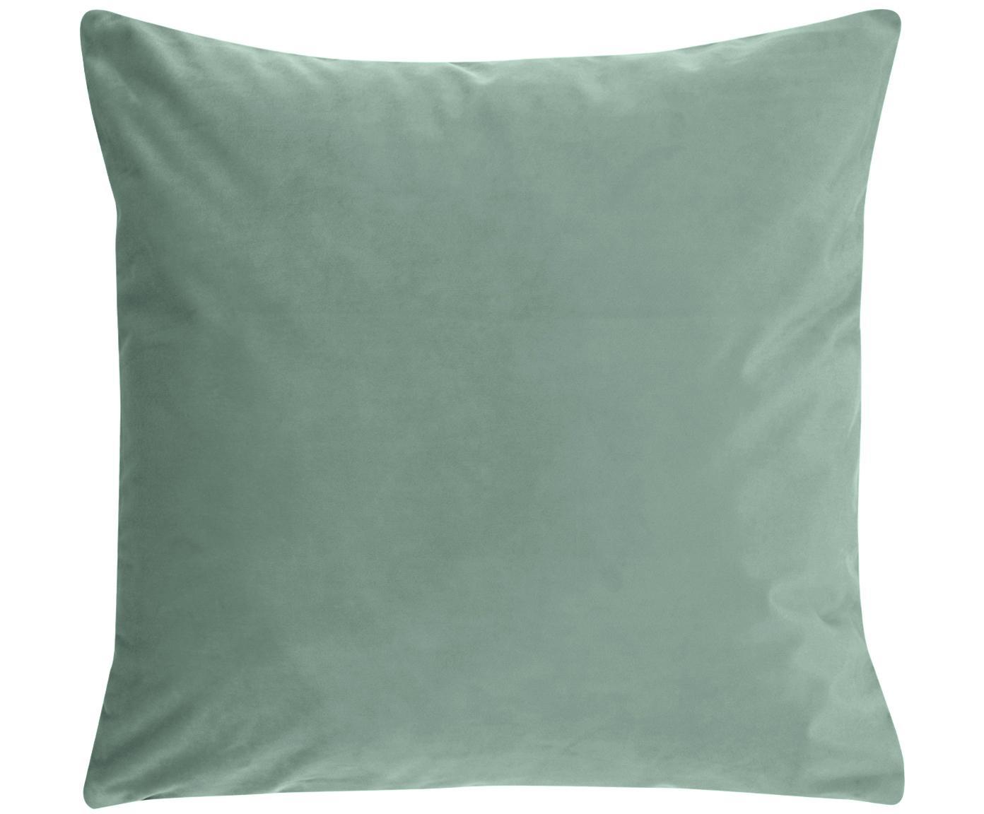 Glänzende Samt-Kissenhülle Monet, 100% Polyestersamt, Mintgrün, 50 x 50 cm
