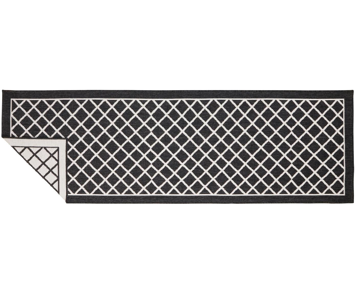 Alfombra de interior y exterior Sydney, caras distintas, Negro, crema, An 80 x L 250 cm