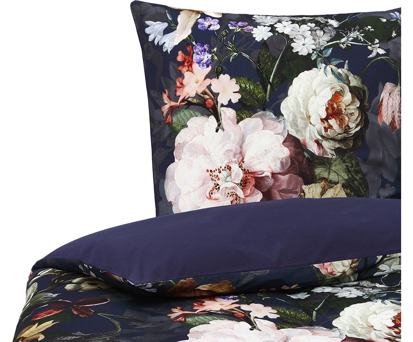 Flanell-Bettwäsche Fleurel mit Blumen-Muster, Webart: Flanell Fadendichte 144 T, Dunkelblau, Mehrfarbig, 135 x 200 cm + 1 Kissen 80 x 80 cm