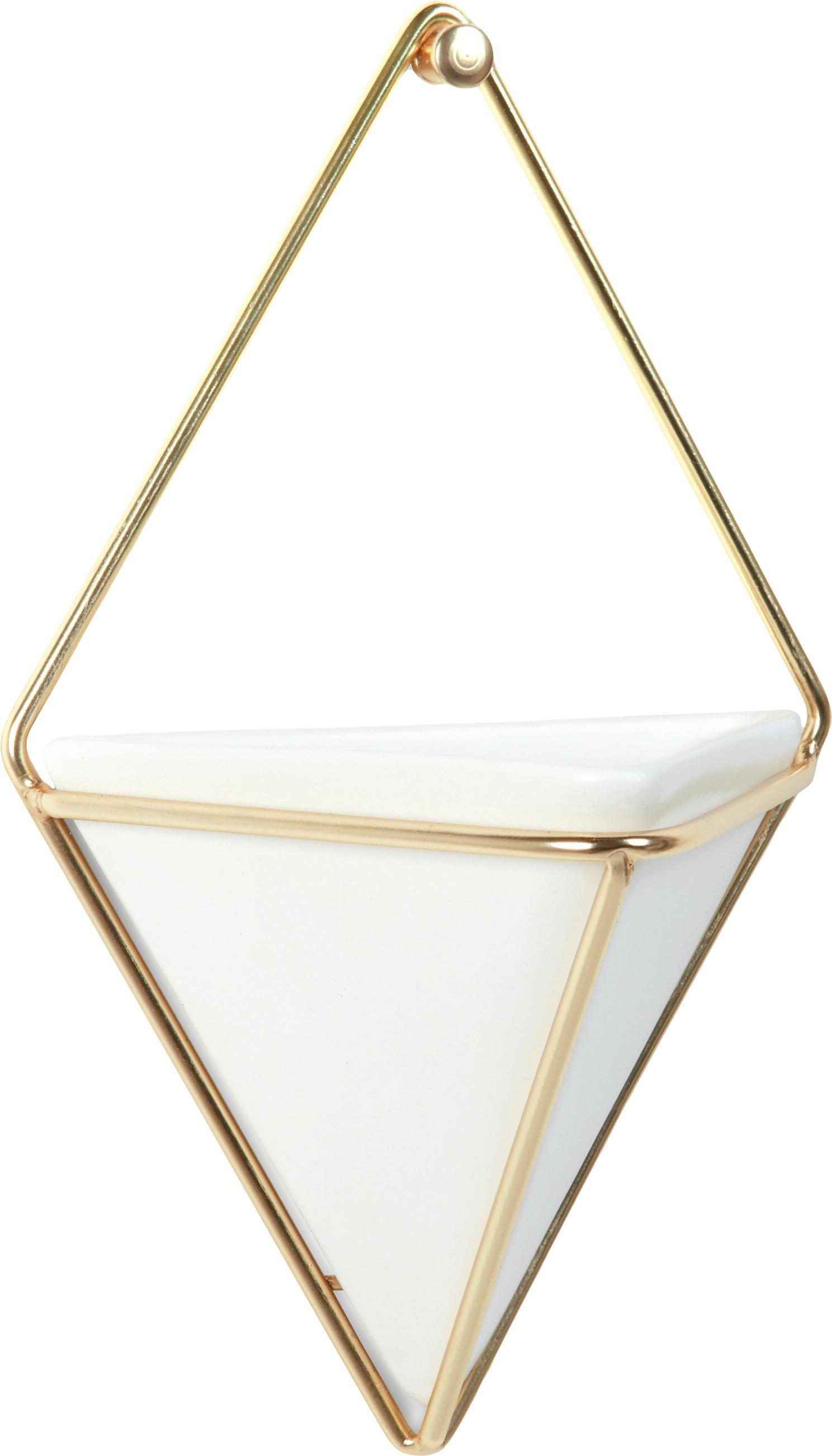 Dekoracja ścienna z pojemnikiem do przechowywania Trigg, 2 szt., Biały, mosiądz, matowy, S 11 x W 18 cm