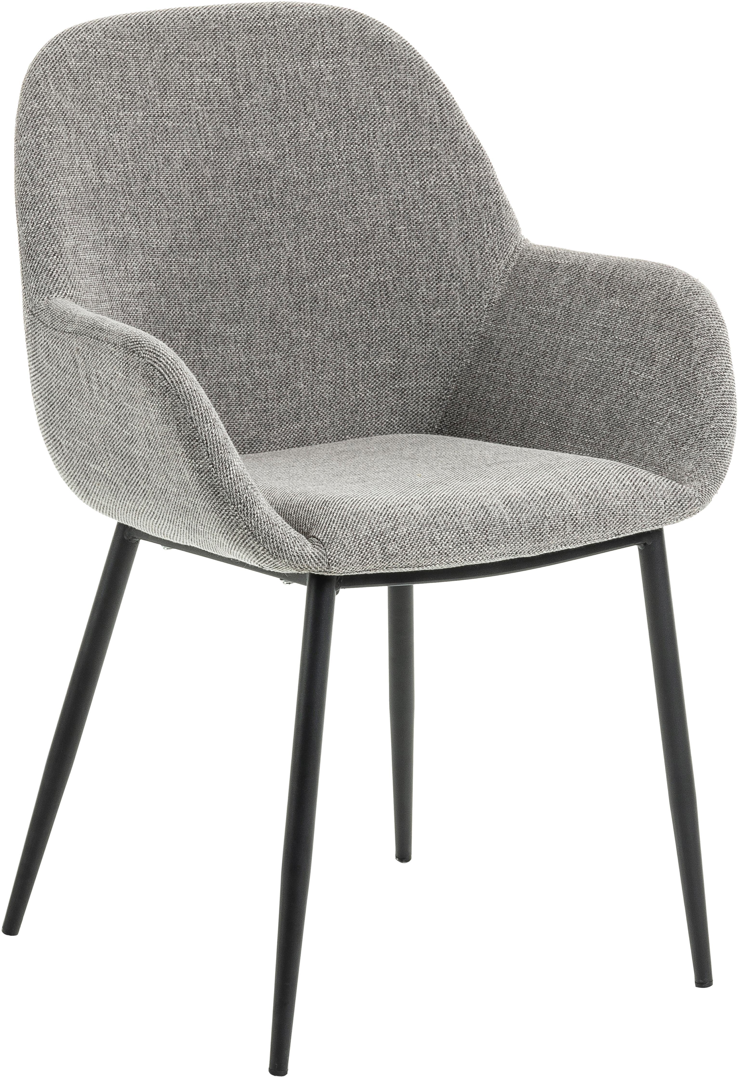 Armlehnstühle Kona, 2 Stück, Bezug: Polyester 50.000 Scheuert, Beine: Metall, lackiert, Webstoff Grau, B 59 x T 56 cm