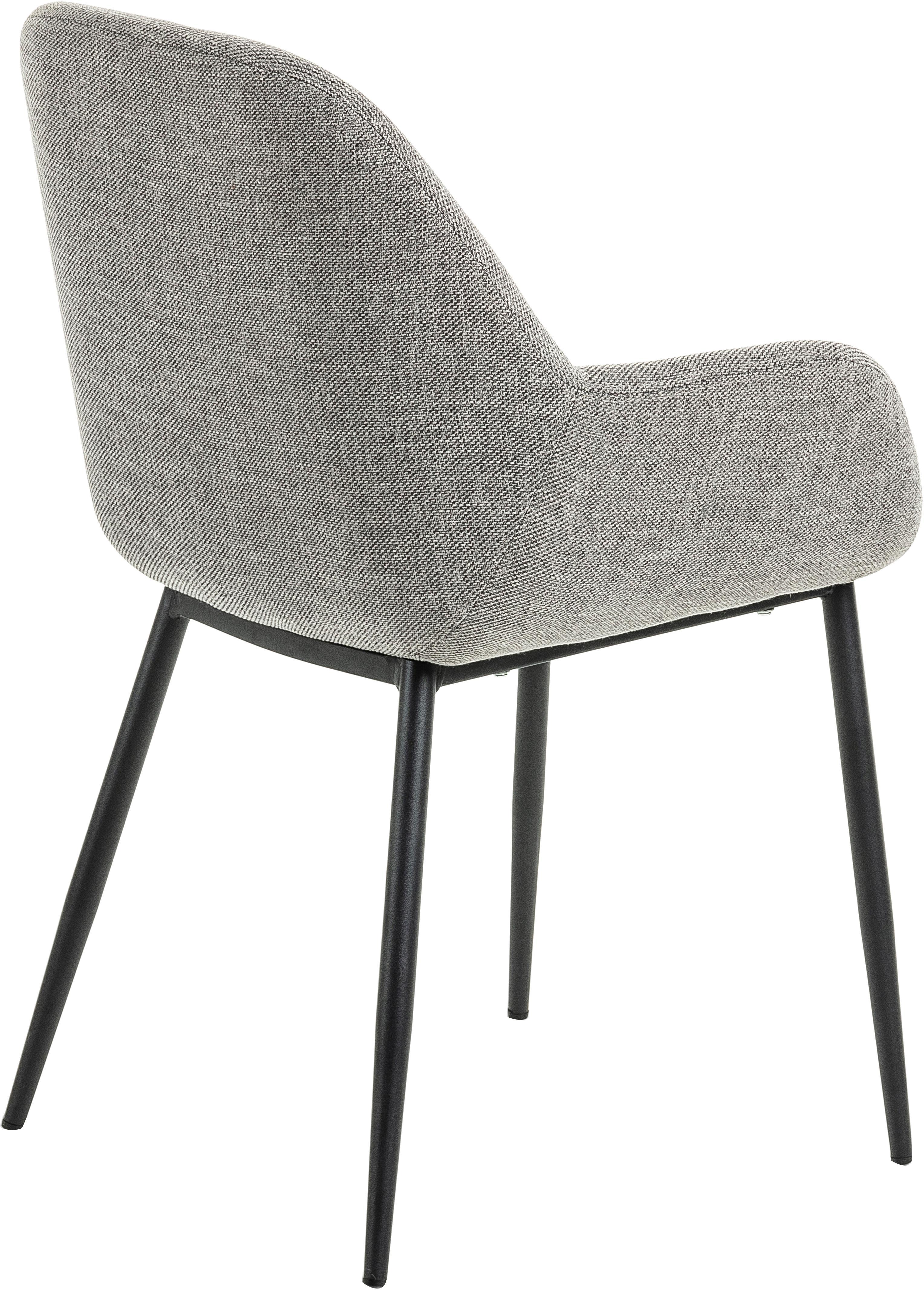 Sedia con braccioli Kona 2 pz, Rivestimento: poliestere 50.000 cicli d, Gambe: metallo verniciato, Rivestimento: grigio Piedini: nero, Larg. 59 x Alt. 56 cm