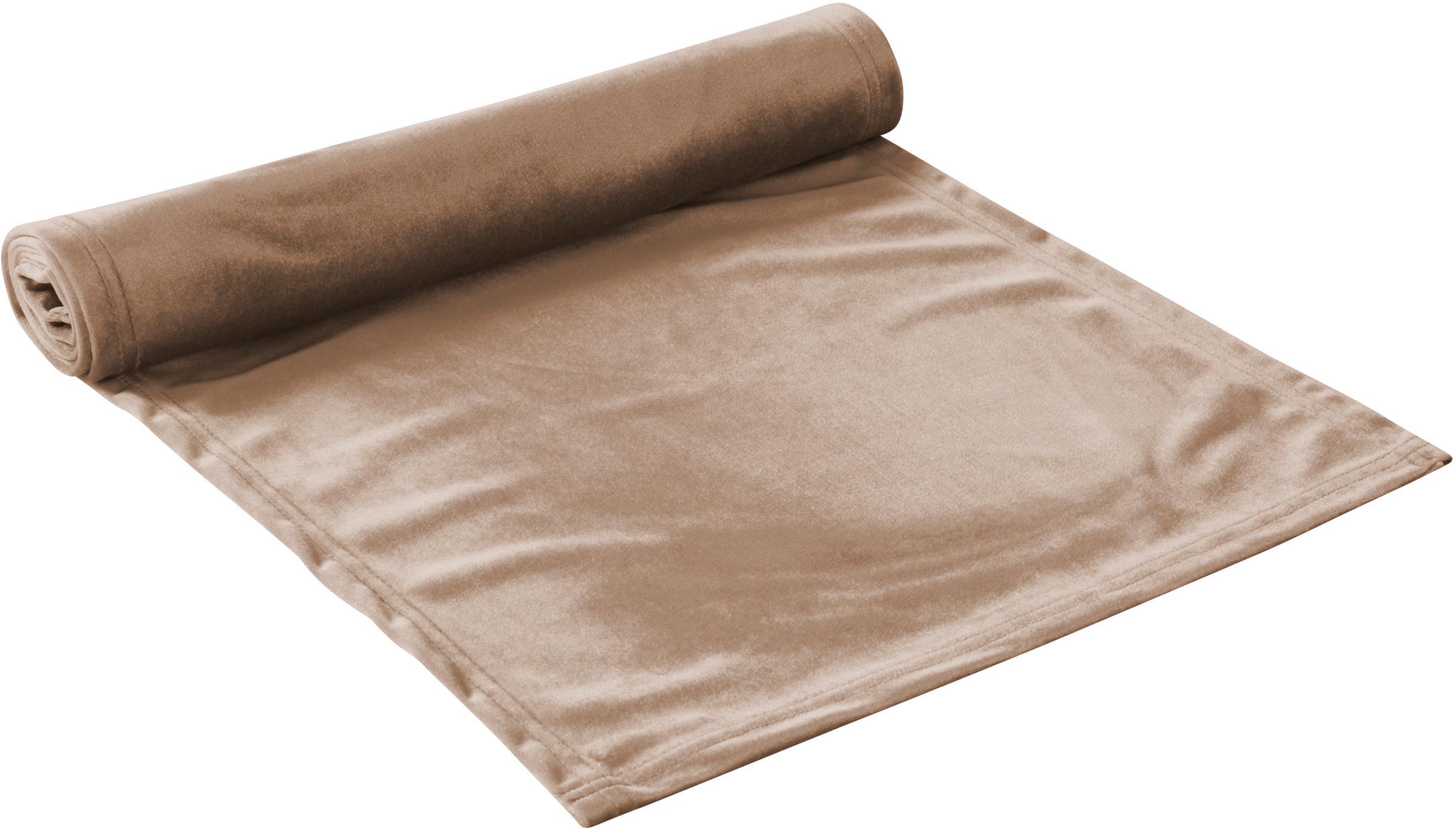 Fluwelen tafelloper Simone, 100% polyester fluweel, Beige, 40 x 140 cm