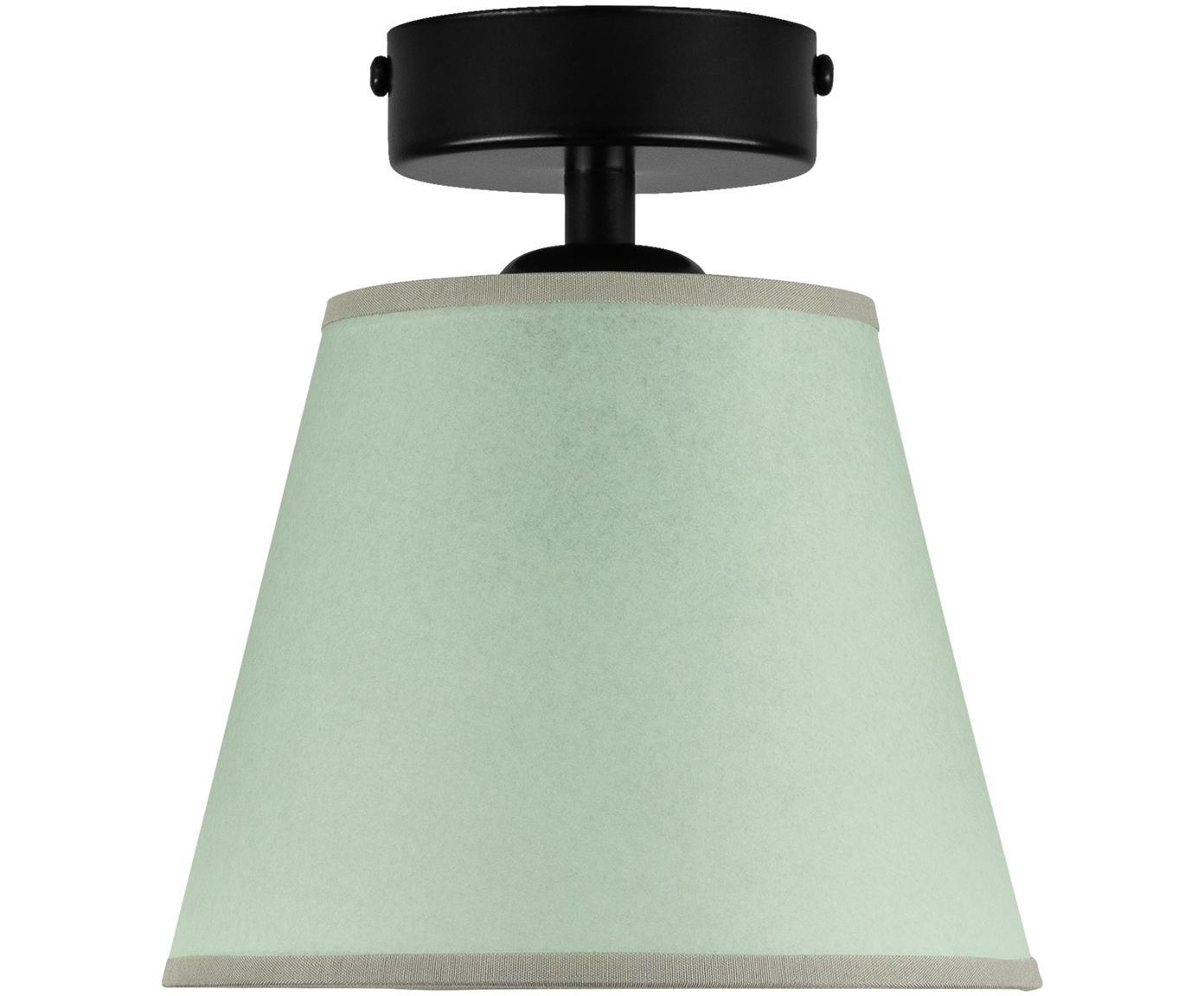 Kleine Deckenleuchte Iro aus Papier, Lampenschirm: Papier, Baldachin: Metall, pulverbeschichtet, Grün, Schwarz, Ø 16 x H 18 cm