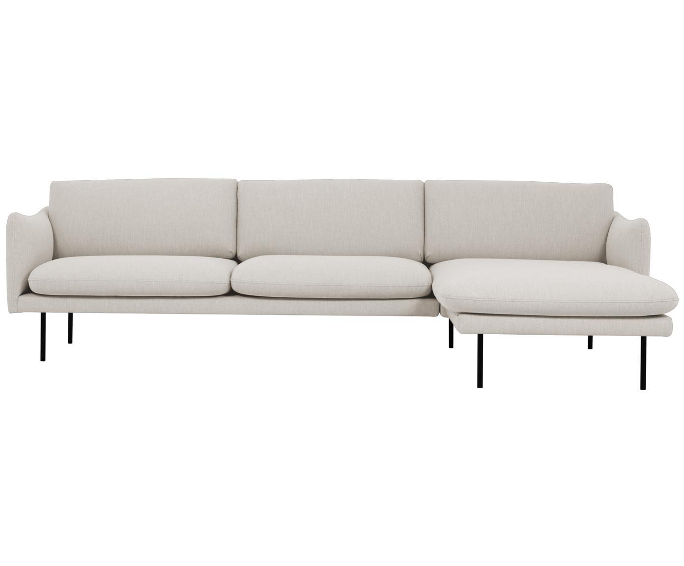 Ecksofa Moby, Bezug: Polyester 60.000 Scheuert, Gestell: Massives Kiefernholz, Webstoff Beige, B 280 x T 160 cm