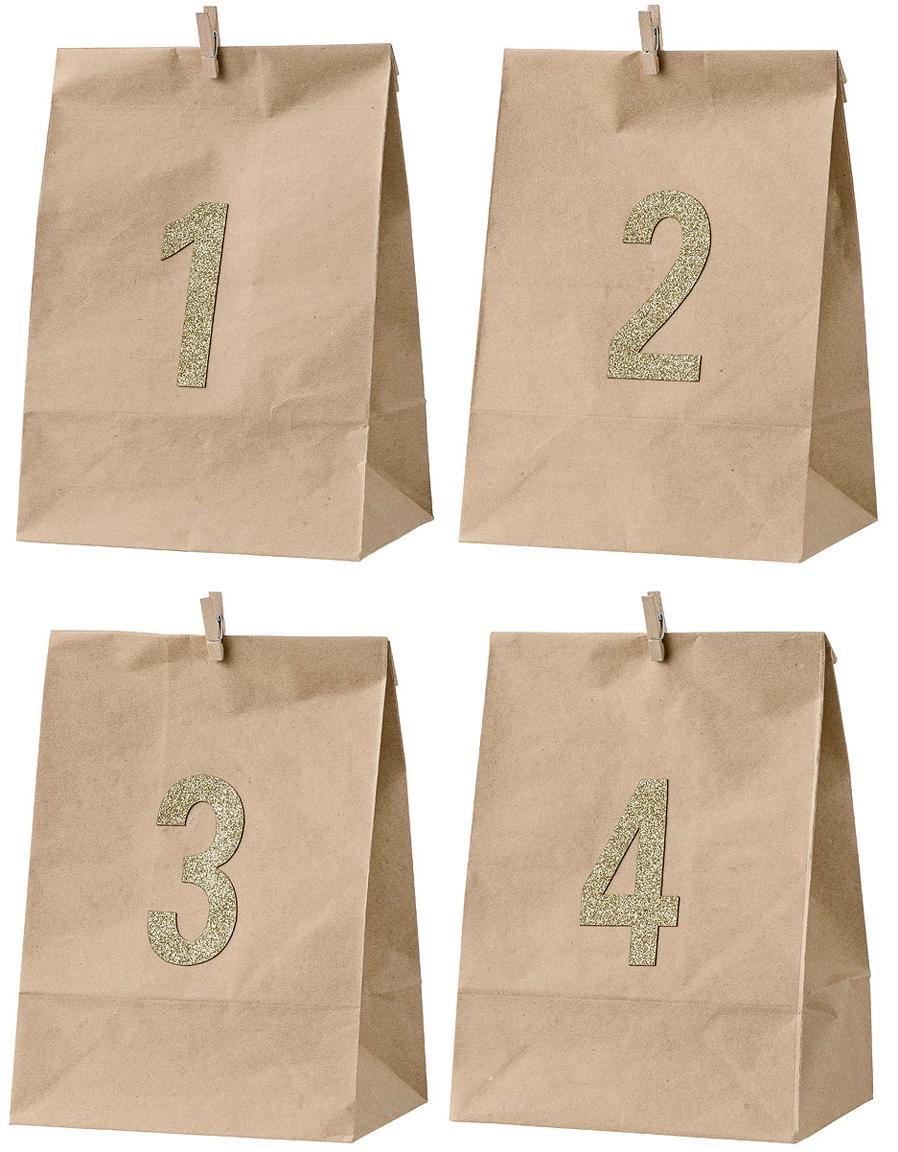 Papiertüten-Set Advent, 4-tlg., Papier, Braun, Goldfarben, 18 x 24 cm