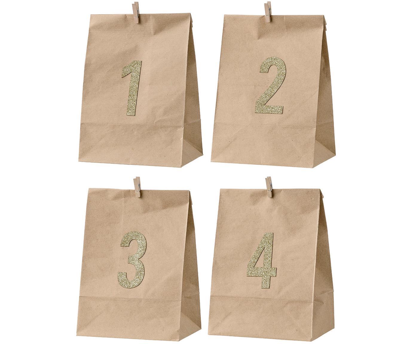 Set 4 sacchetti di carta Avvento, Carta, Marrone, dorato, Larg. 18 x Alt. 24 cm