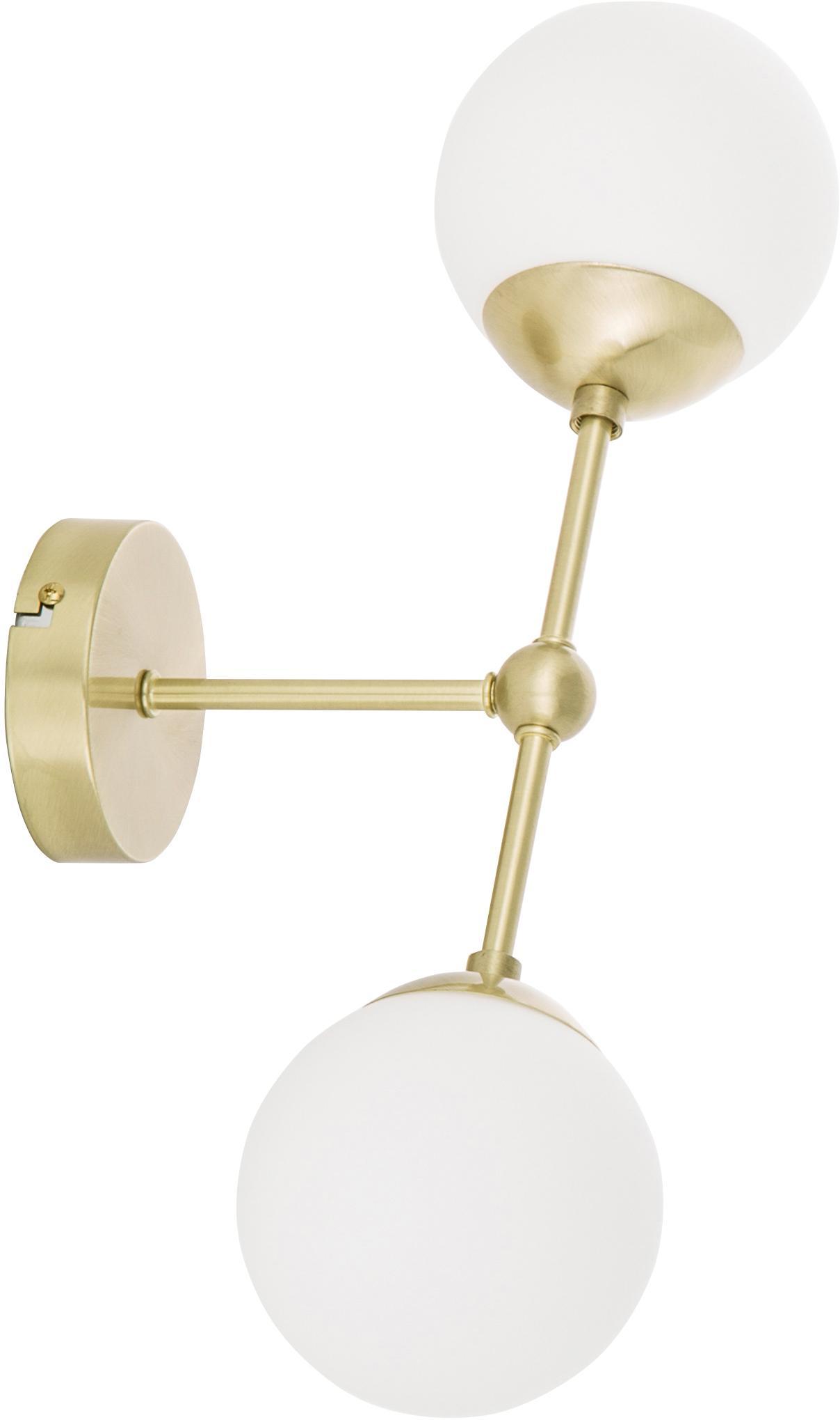 Wandleuchte Beth aus Opalglas, Lampenschirm: Glas, Weiß, Messing, Ø 12 x H 45 cm