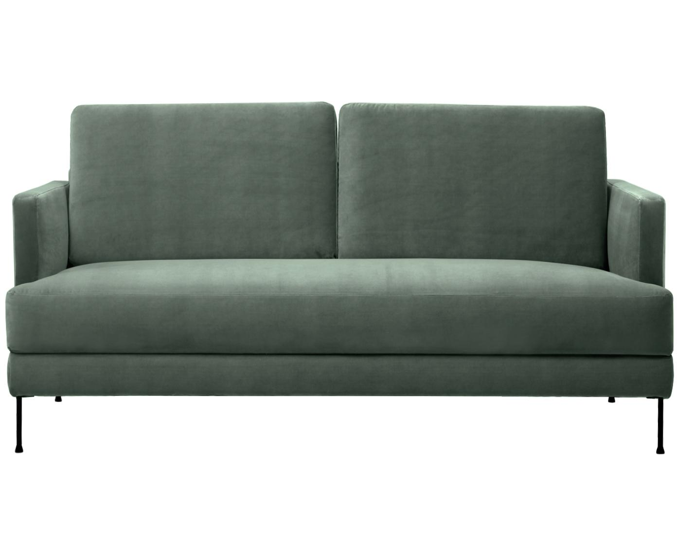 Samt-Sofa Fluente (2-Sitzer), Bezug: Samt (Hochwertiger Polyes, Gestell: Massives Kiefernholz, Samt Grün, B 168 x T 83 cm