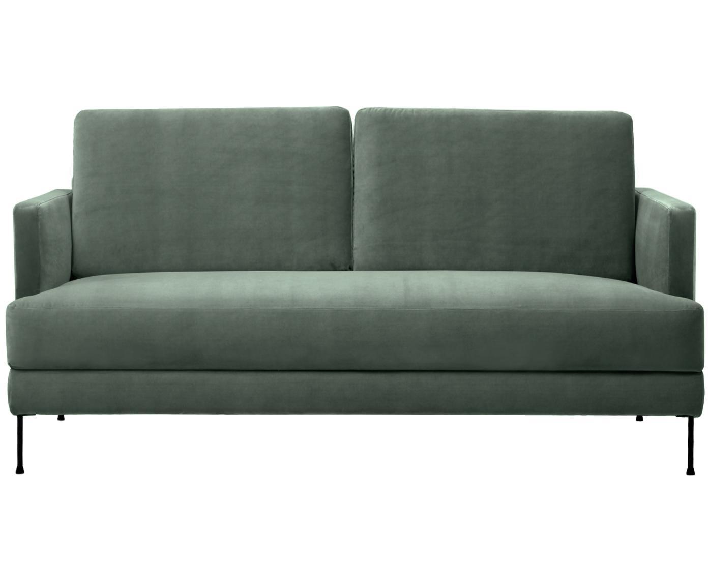 Sofa z aksamitu Fluente (2-osobowa), Tapicerka: aksamit (wysokiej jakości, Stelaż: lite drewno sosnowe, Nogi: metal lakierowany, Aksamitny zielony, S 168 x G 83 cm