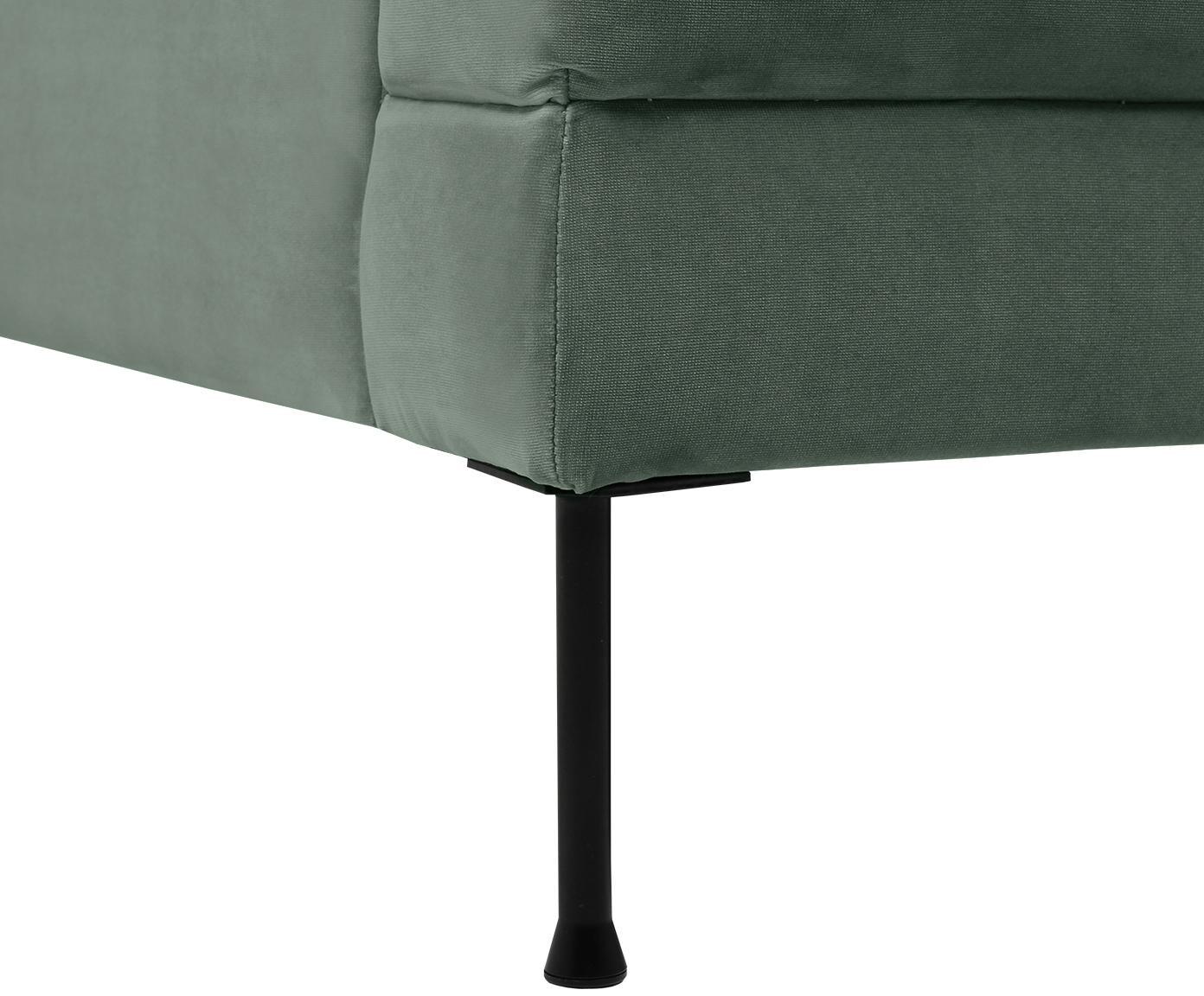 Fluwelen bank Fluente (2-zits), Bekleding: fluweel (hoogwaardig poly, Frame: massief grenenhout, Poten: gelakt metaal, Groen, B 168 x D 83 cm