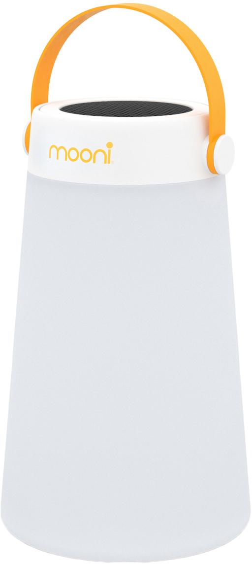 Lámpara LED para exterior con altavoz Take Me, portátil, Pantalla: plástico (LDPE), Asa: plástico (PC), Blanco, naranja, Ø 18 x Al 30 cm
