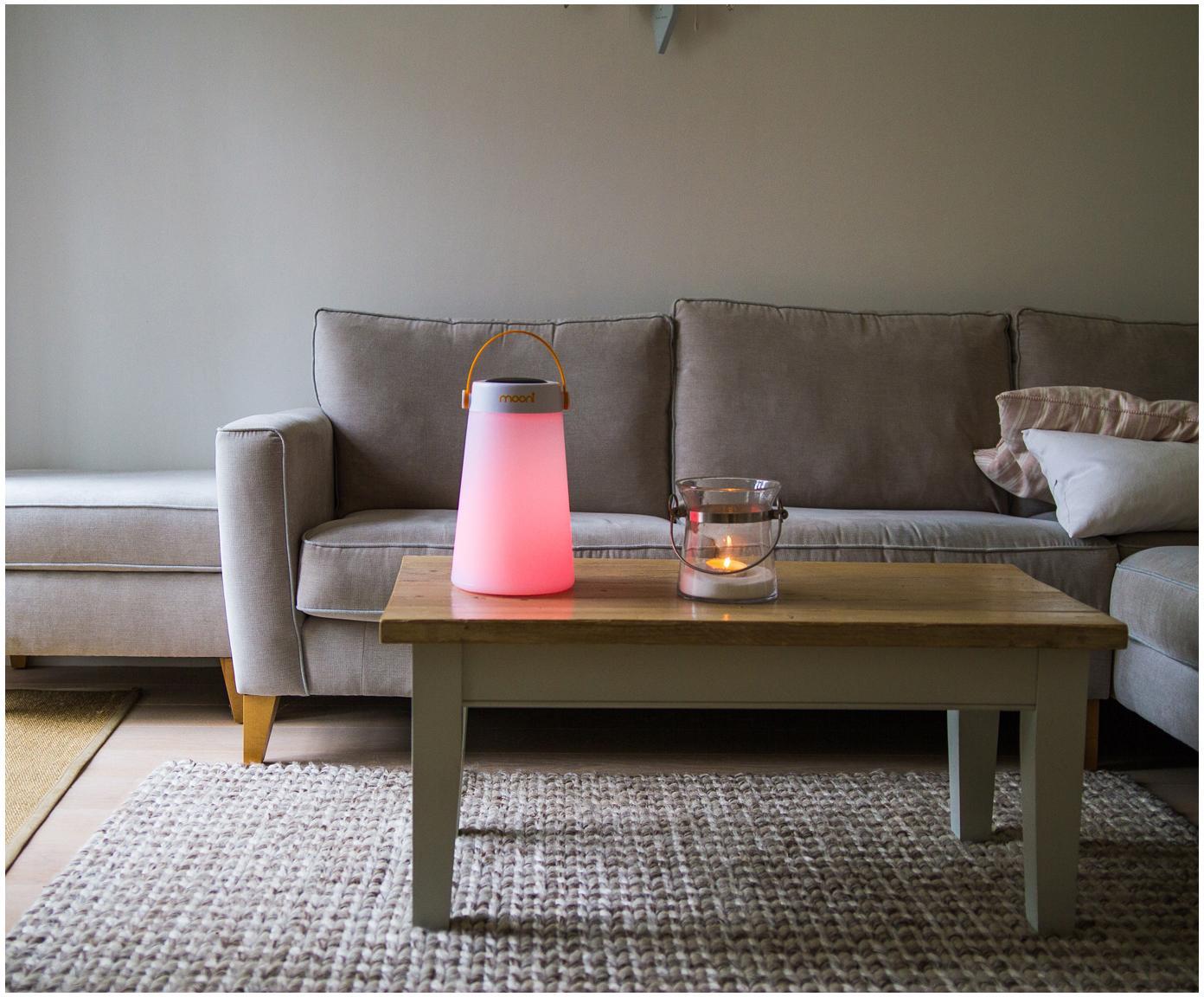 Zewnętrzna lampa LED z głośnikiem Take Me, Biały, pomarańczowy, Ø 18 x W 30 cm