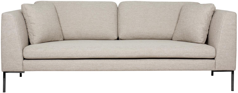 Sofa Emma (3-Sitzer), Bezug: Polyester 100.000 Scheuer, Gestell: Massives Kiefernholz, Webstoff Beige, Füsse Schwarz, B 227 x T 100 cm