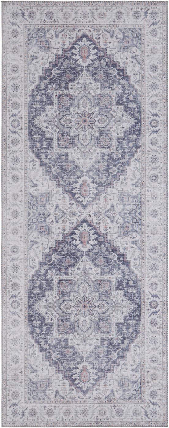 Alfombra Anthea, estilo vintage, Malva, gris plata, An 80 x L 200 cm