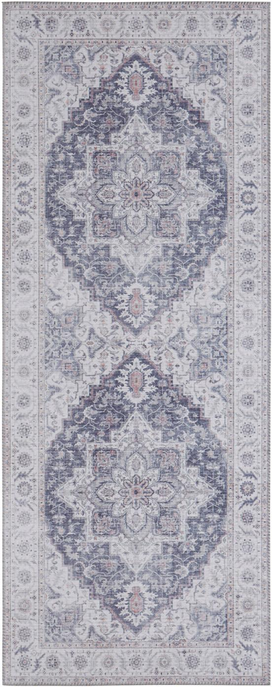 Läufer Anthea im Vintage Style, Mauve, Silbergrau, 80 x 200 cm
