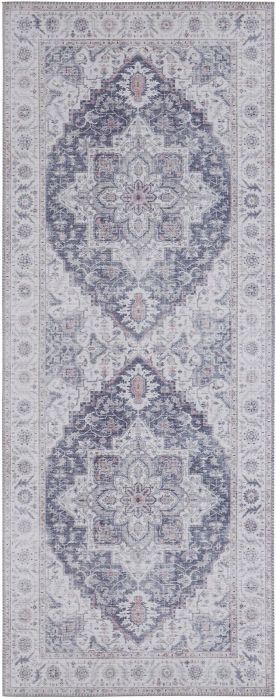 Passatoia vintage Anthea, Malva, grigio argento, Larg. 80 x Lung. 200 cm