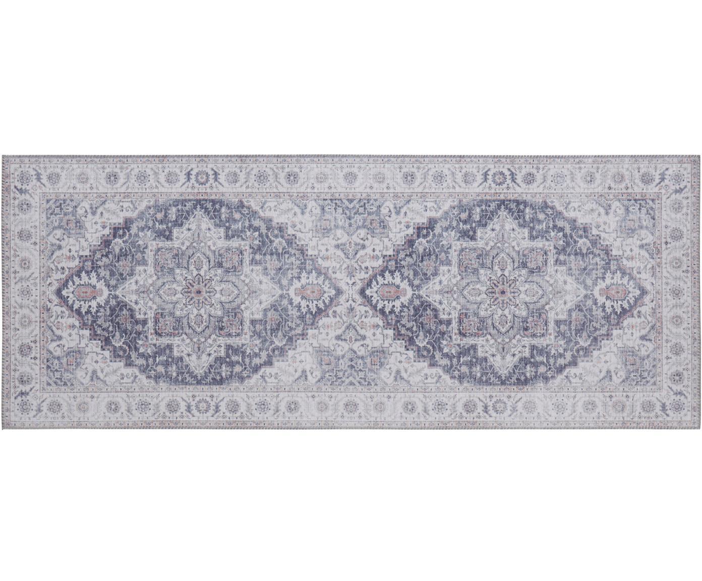Loper Anthea in vintage stijl, Polyester, Mauve, zilvergrijs, 80 x 200 cm