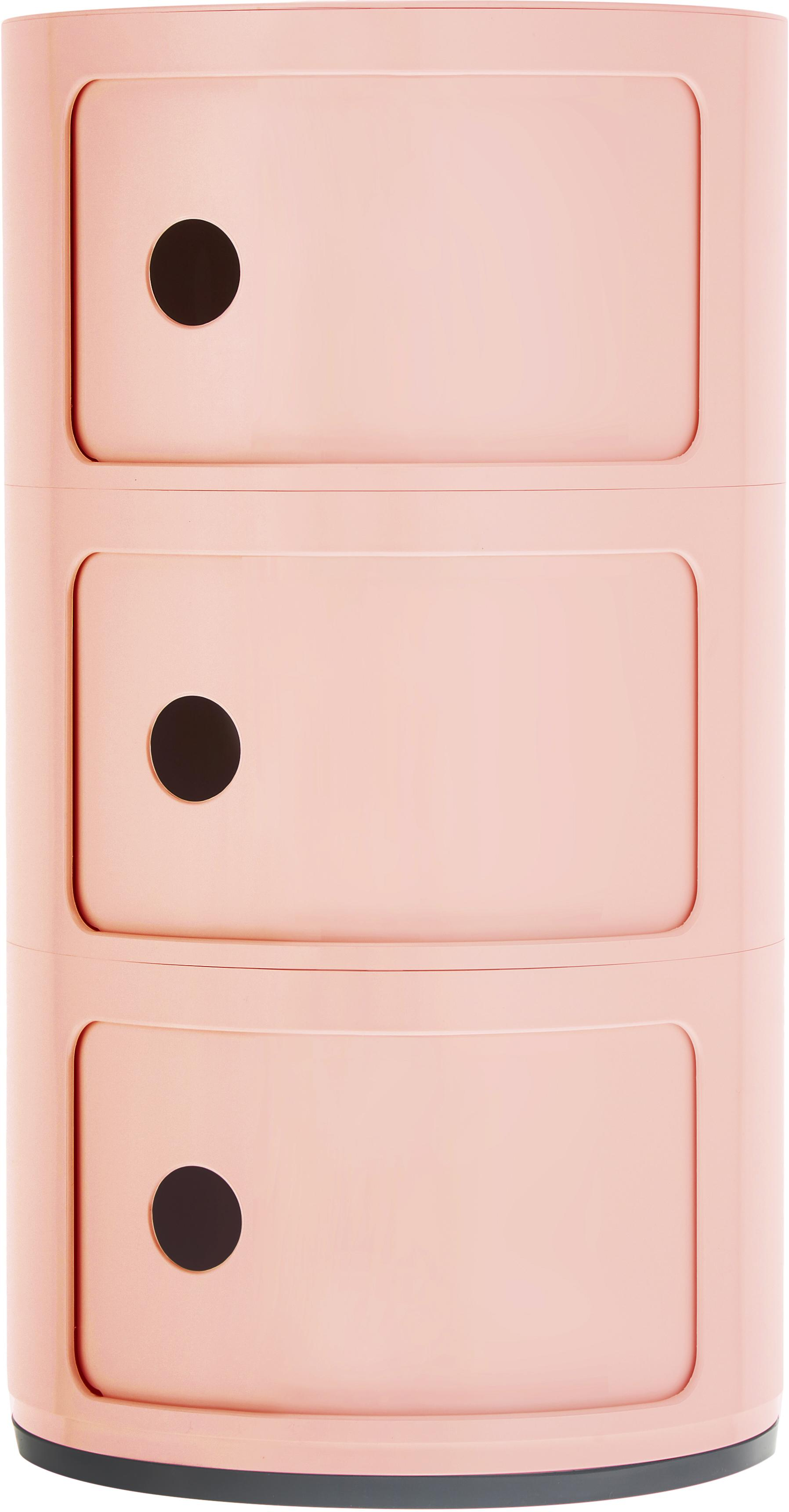 Stolik pomocniczy Componibile, 100% biopolimer z surowców odnawialnych, Różowy, matowy, Ø 32 x W 59 cm