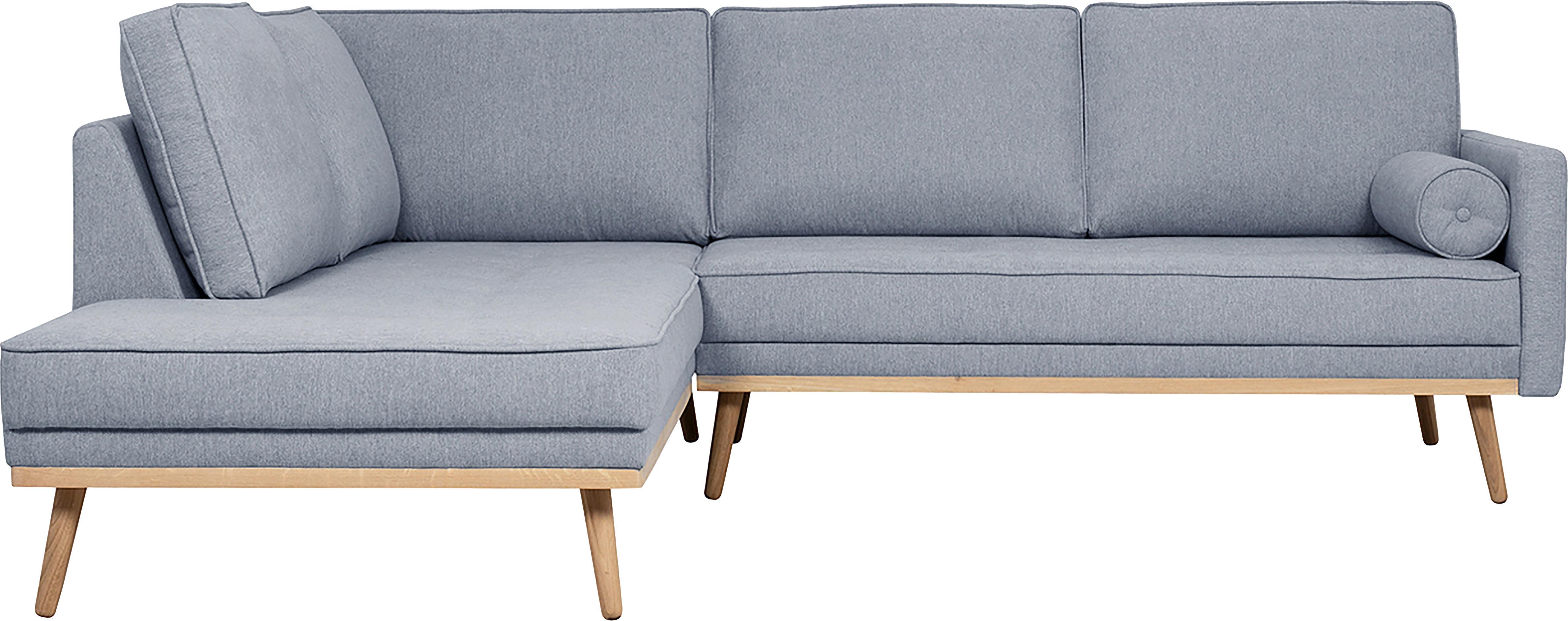 Divano angolare 3 posti in tessuto blu grigio Saint, Rivestimento: poliestere 50.000 cicli d, Struttura: legno di pino massiccio, , Tessuto blu grigio, Larg. 243 x Alt. 70 cm