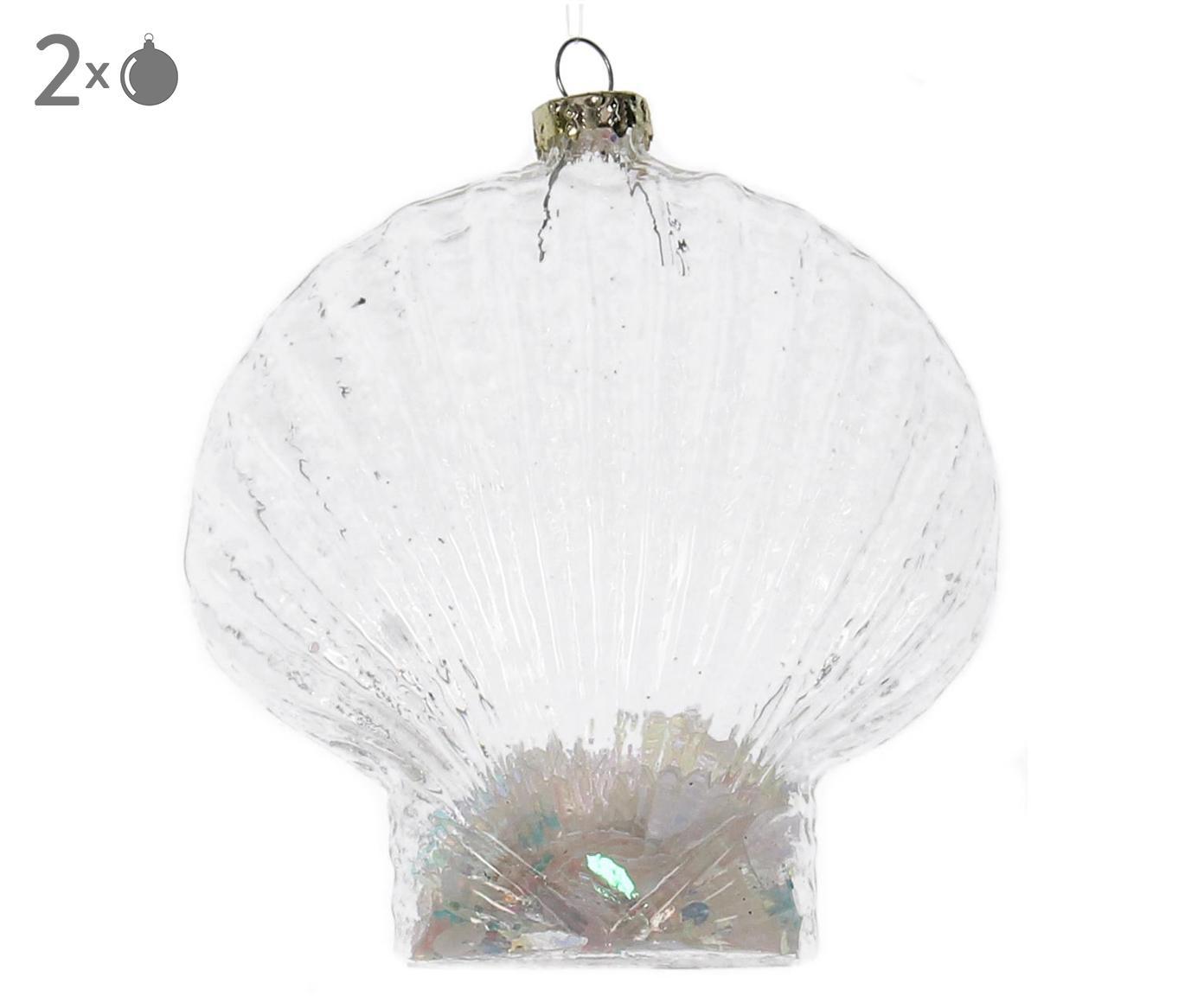 Baumanhänger Shell, 2 Stück, Transparent, 10 x 11 cm