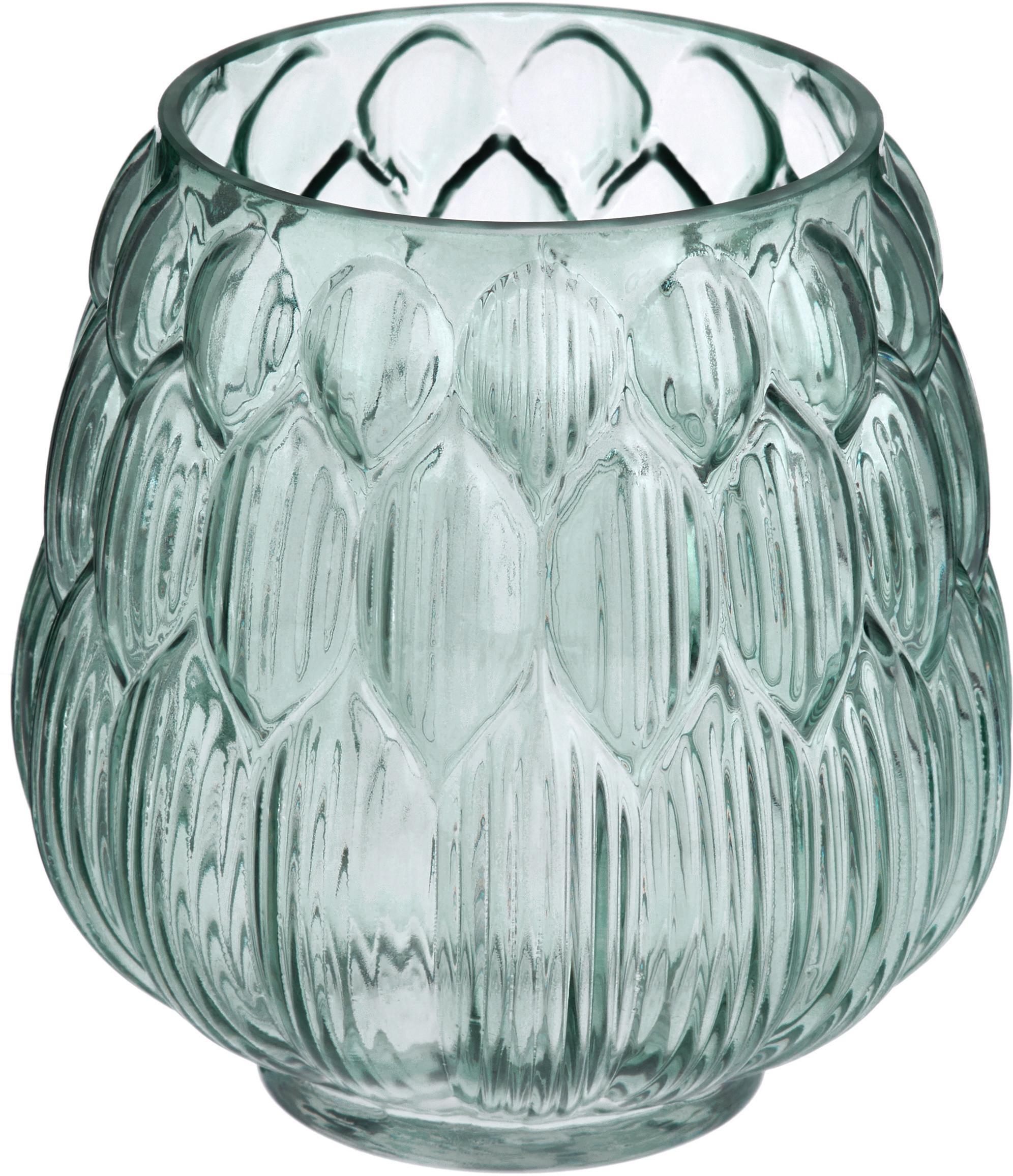 Kleine glazen vaas Berry in petrolkleur, Glas, Petrolkleurig, Ø 14 x H 15 cm