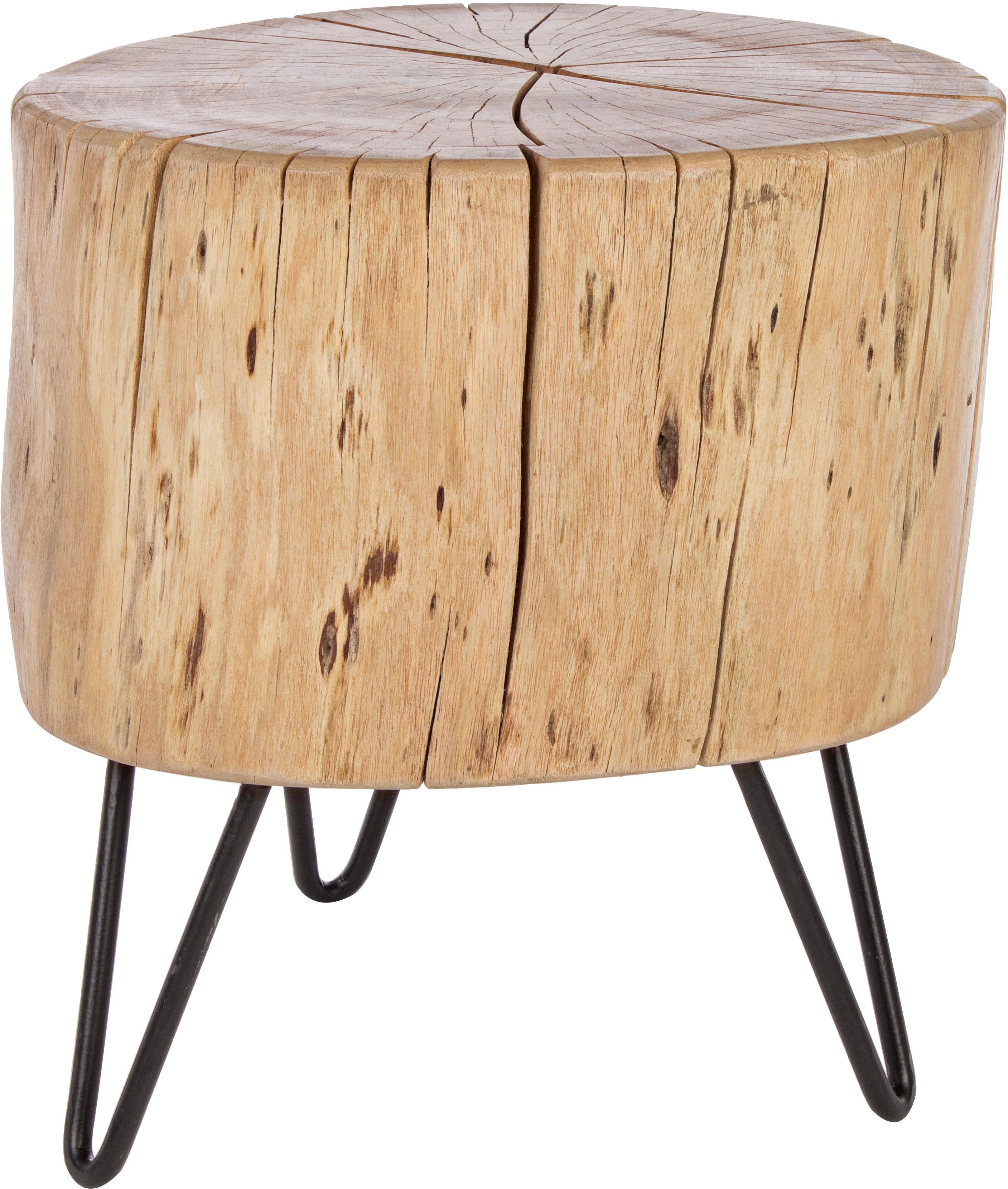 Tavolino in legno d'acacia Arthur, Piano d'appoggio: legno d'acacia, Piedini: metallo, Piano d'appoggio: legno d'acacia, laccato trasparente Piedini: nero, Larg. 35 x Alt. 35 cm