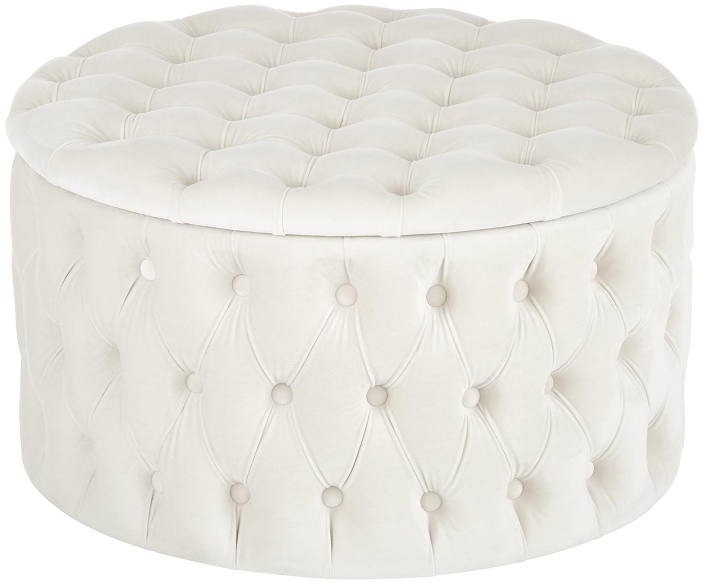 Pouf contenitore in velluto Chiara, Rivestimento: velluto (poliestere) 20.0, Bianco crema, Ø 70 x Alt. 42 cm