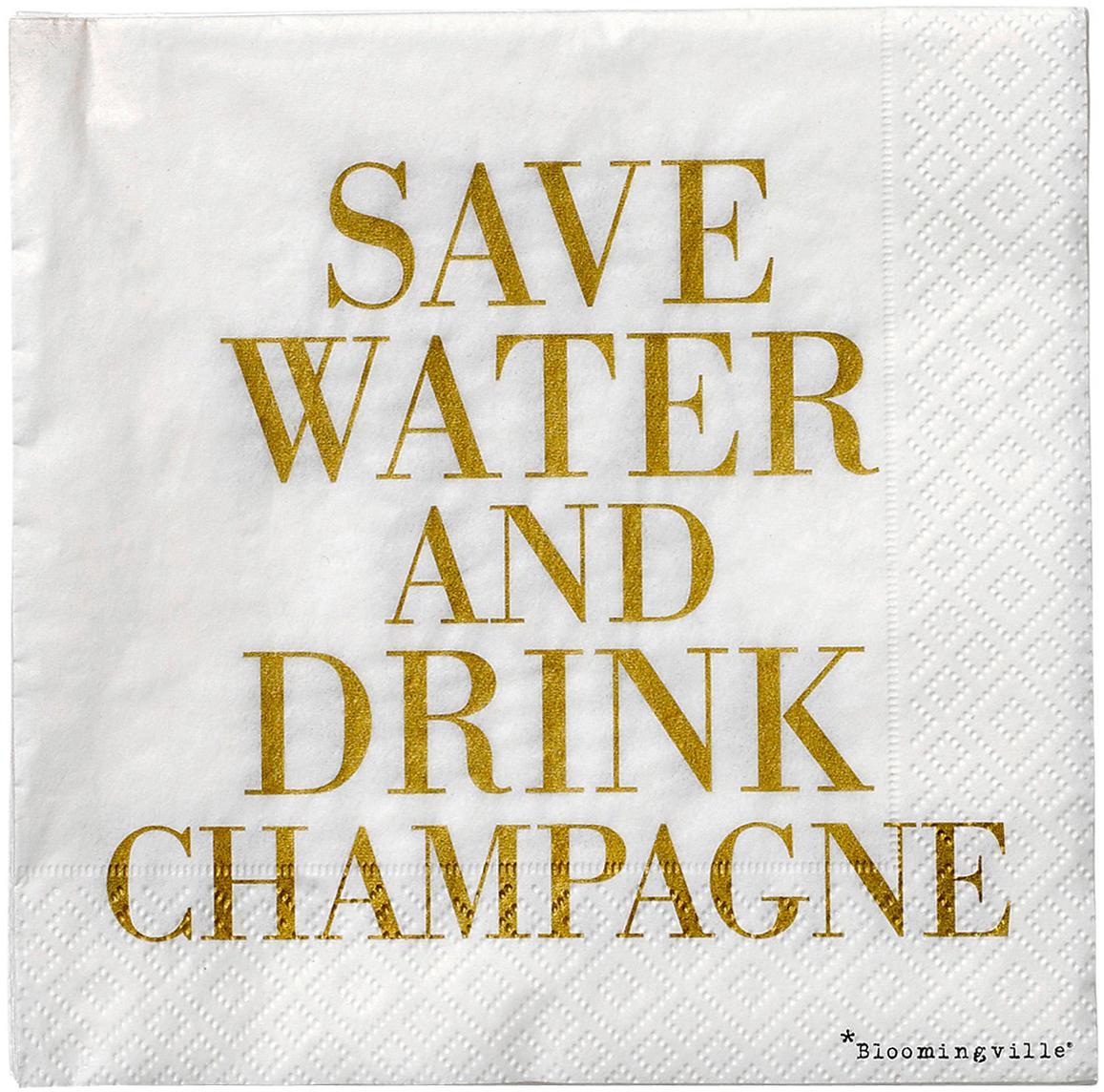 Papier-Servietten Save Water, 20 Stück, Papier, Goldfarben, Weiss, 33 x 33 cm
