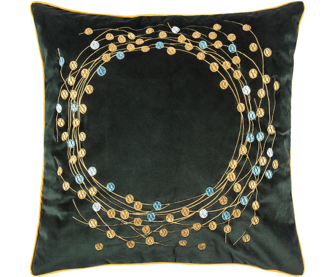 Fluwelen kussenhoes Circle met geborduurd wintermotief, Polyester fluweel, Donkergroen, goudkleurig, 45 x 45 cm