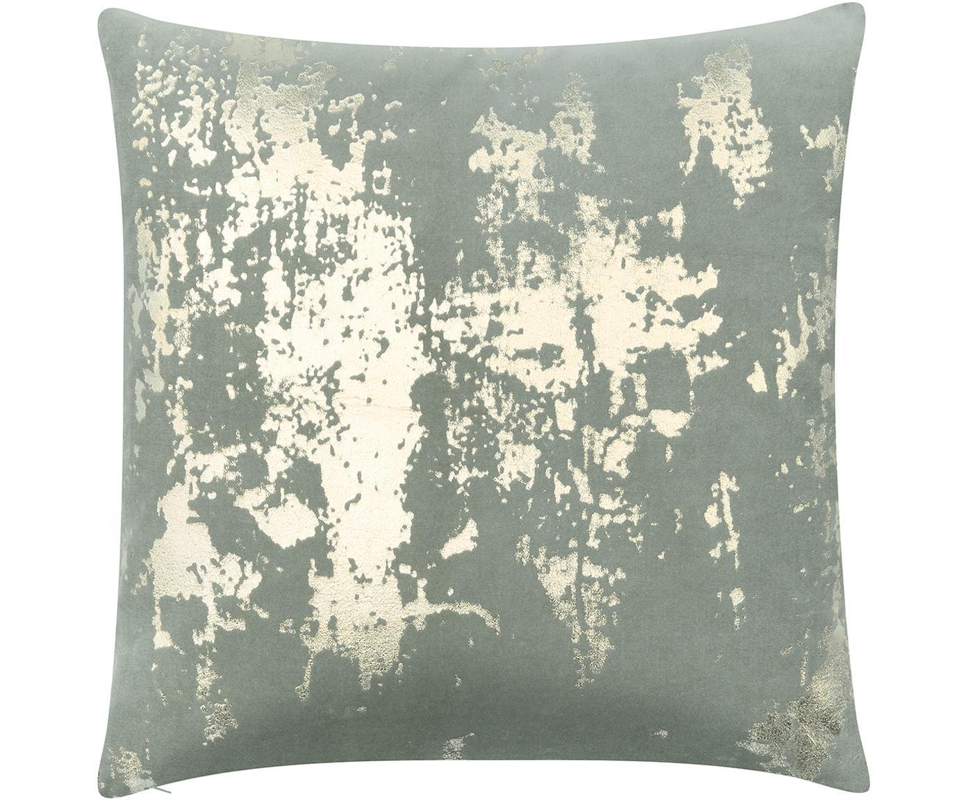 Fluwelen kussenhoes Shiny met glinsterend vintage patroon, Katoenfluweel, Saliegroen, goudkleurig, 40 x 40 cm