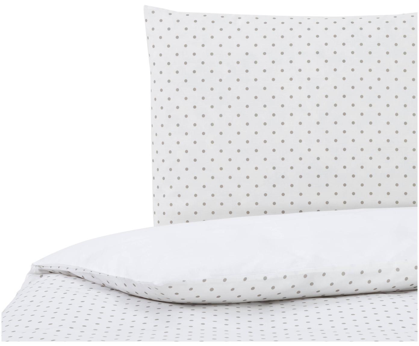 Dubbelzijdig dekbedovertrek Lilca, Katoen, Bovenzijde: wit, grijs. Onderzijde: wit, 140 x 200 cm
