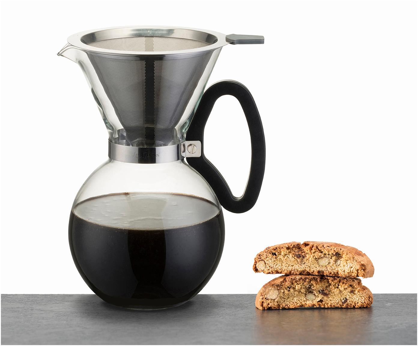 Kaffeezubereiter Daisy aus Glas mit abnehmbaren Filteraufsatz, Kanne: Borosilikatglas, Griff: Kunststoff (ABS), Filter und Befestigung: Edelstahl, Transparent, Edelstahl, 1 L