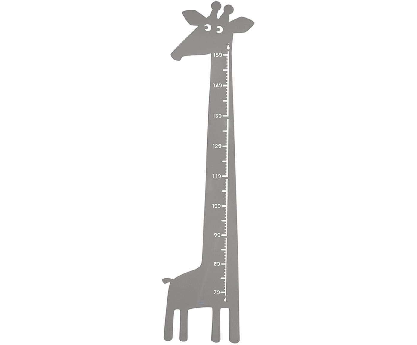 Groeimeter Giraffe, Gepoedercoat metaal, Grijs, 28 x 151 cm