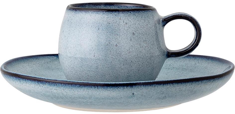 Tazzina con piattino fatti a mano Sandrine, Terracotta, Tonalità blu, Ø 7 x Alt. 6 cm