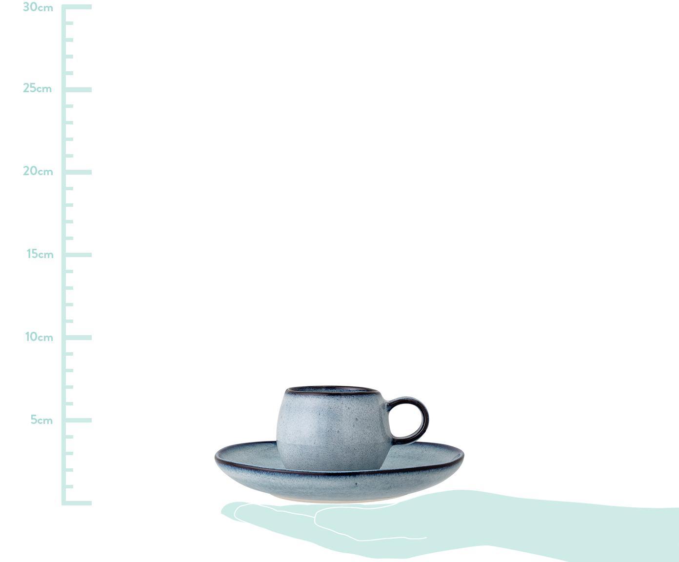 Handgemachte Espressotasse mit Untertasse Sandrine in Blau, Steingut, Blautöne, Sondergrößen