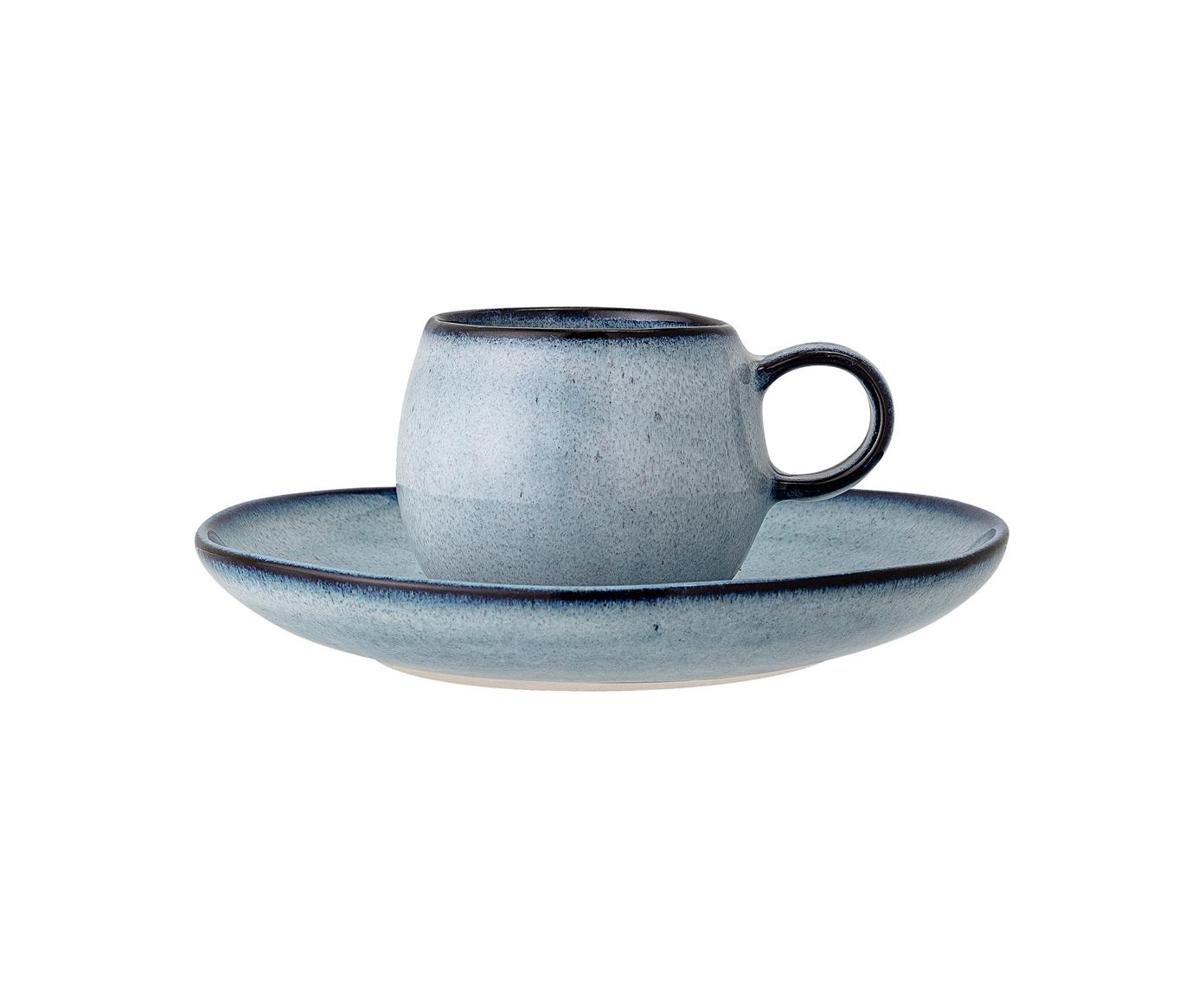Taza de café artesanal con platito Sandrine, Gres, Tonos azules, Ø 7 x Al 6 cm
