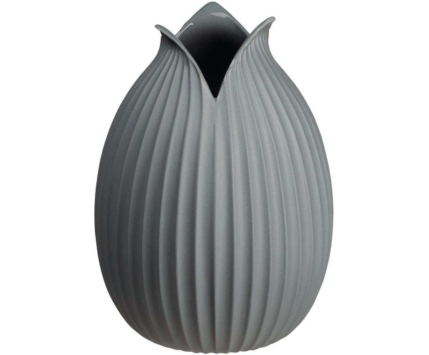 Handgefertigte Vase Yoko aus Porzellan, Porzellan, Grau, Ø 15 x H 22 cm
