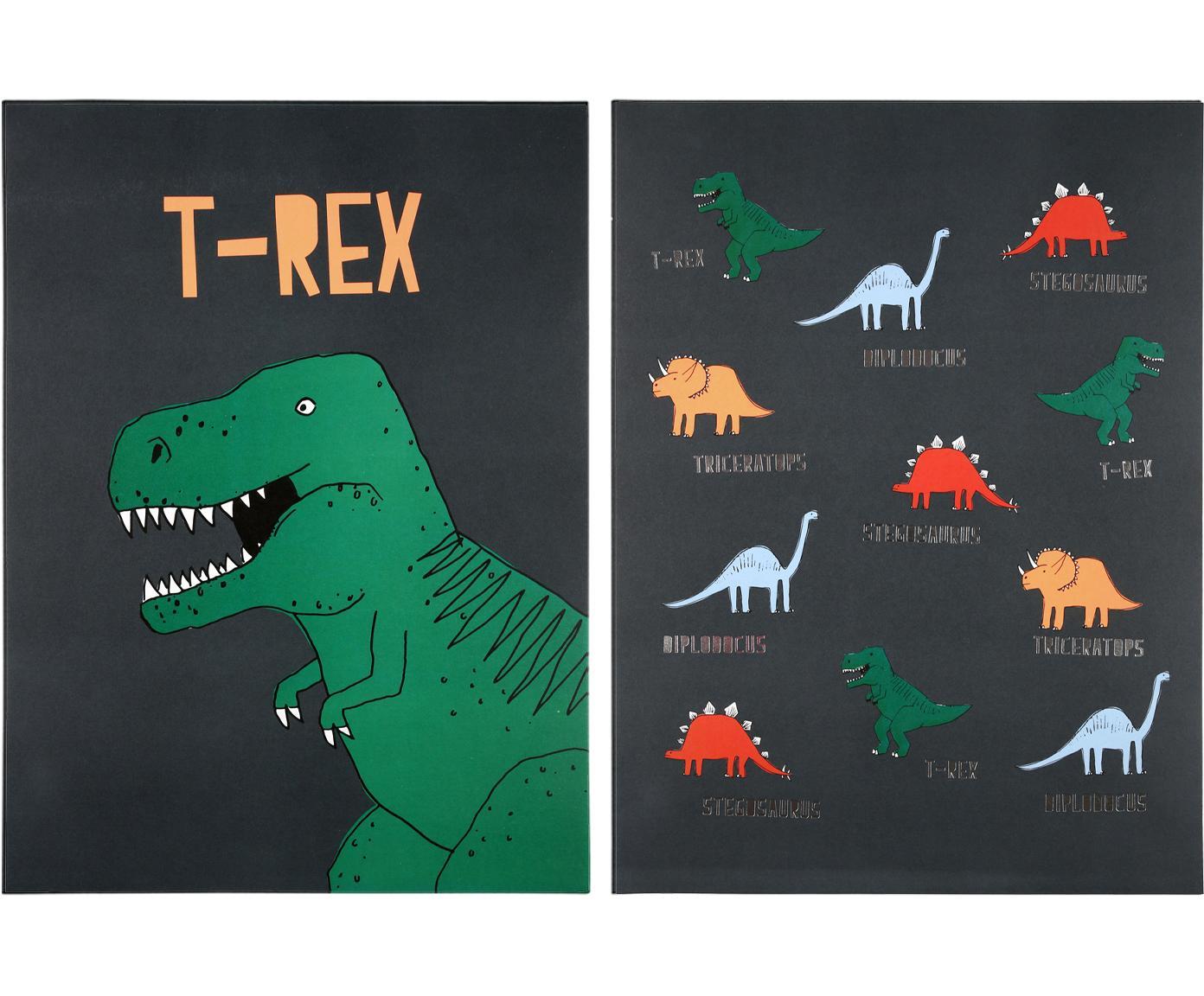 Komplet plakatów Dinosaur, 2 elem., Druk cyfrowy na papierze, 200 g/m², Zielony, szary, żółty, czerwony, niebieski, S 31 x W 41 cm