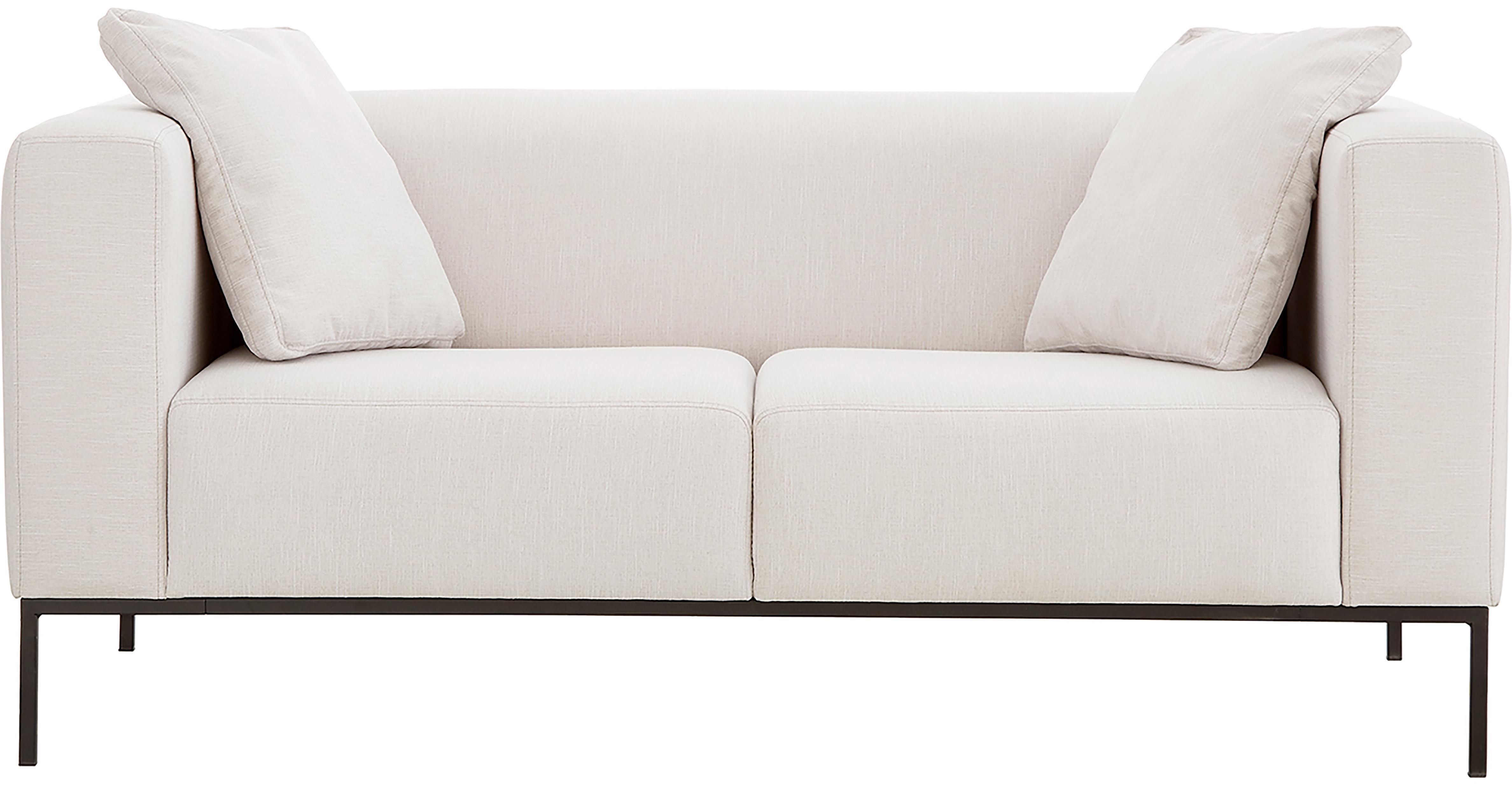 Bank Carrie (2-zits), Bekleding: polyester, Frame: spaanplaat, hardboard, mu, Poten: gelakt metaal, Webstoff Beige, B 176 x D 86 cm