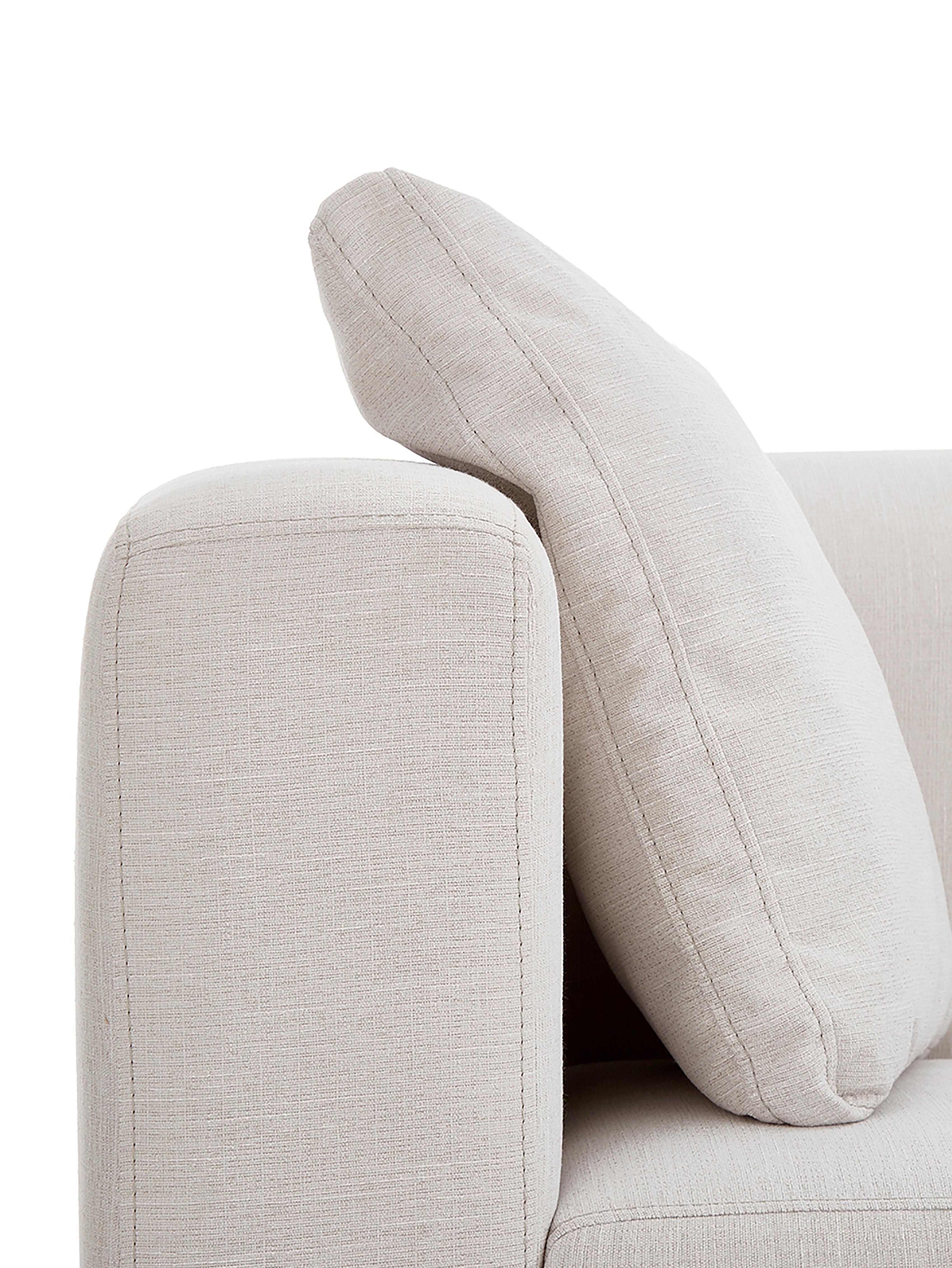 Sofa Carrie (2-Sitzer), Bezug: Polyester 50.000 Scheuert, Gestell: Spanholz, Hartfaserplatte, Füße: Metall, lackiert, Webstoff Beige, B 176 x T 86 cm