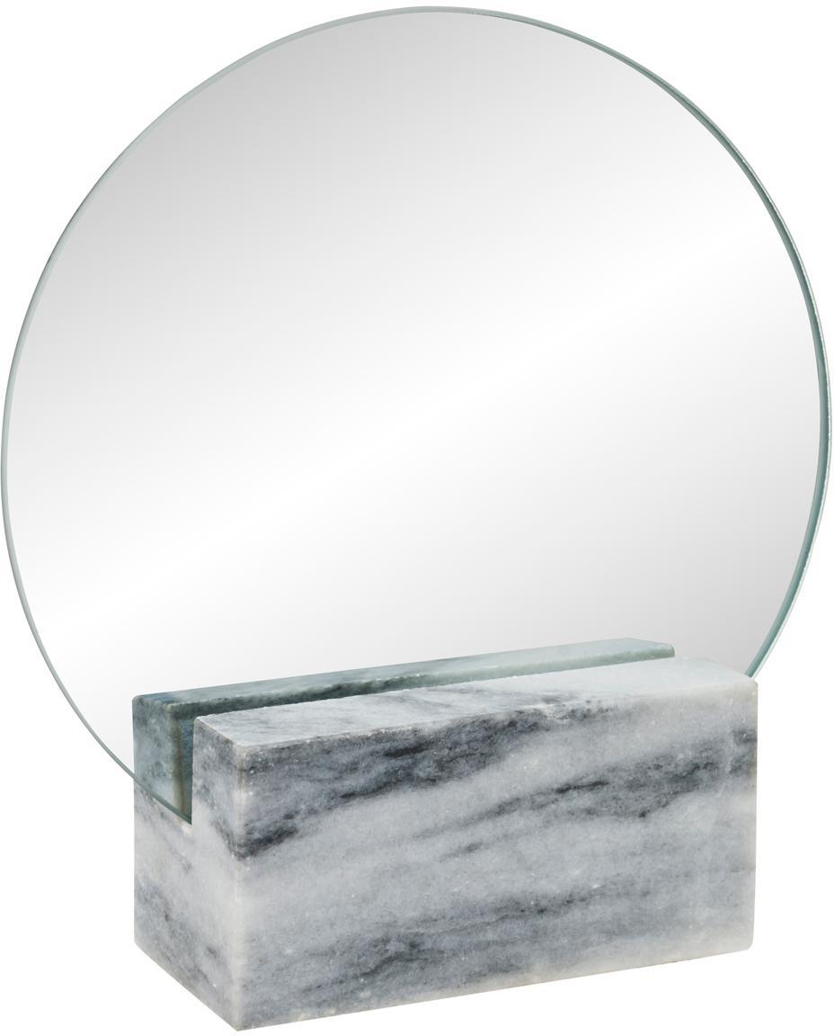 Lusterko kosmetyczne z marmuru Humana, Nogi: marmur, Szary, S 17 x W 19 cm
