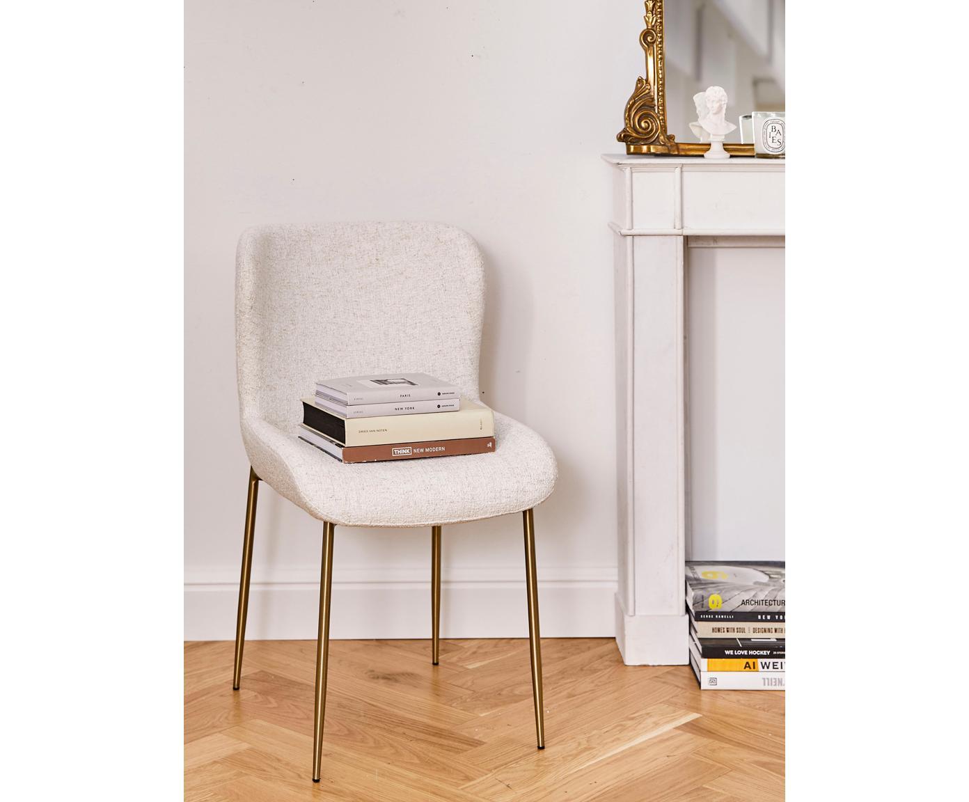 Chaise tissu bouclé rembourré Tess, En tissu bouclé blanc crème, pieds or