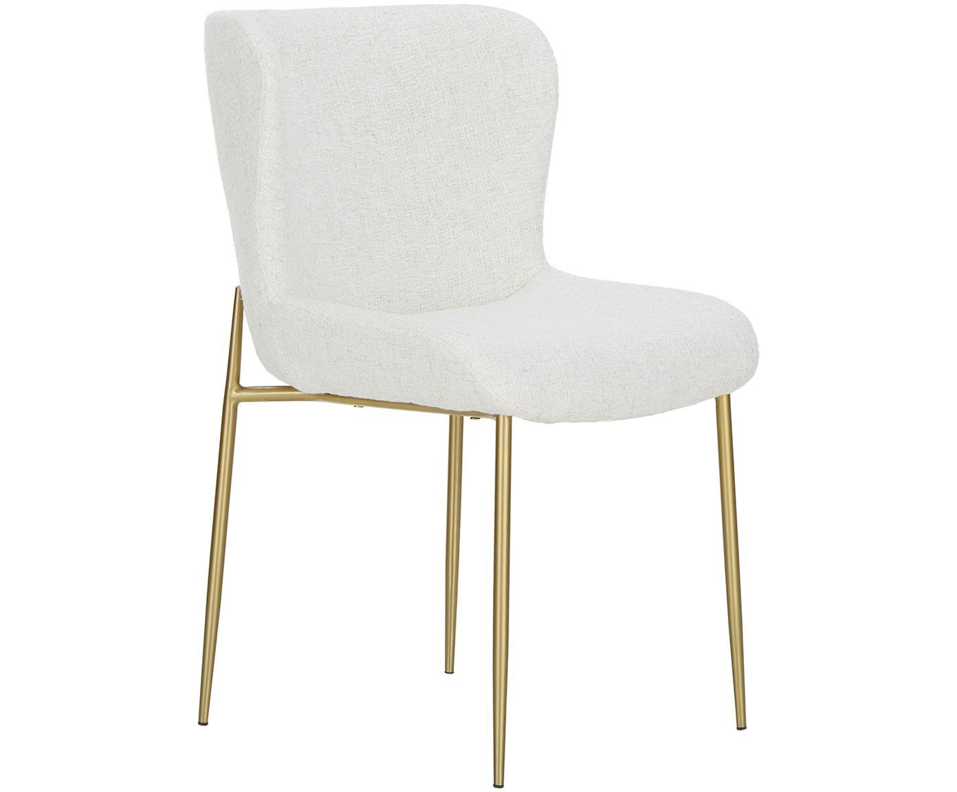 Bouclé stoel Tess, Bekleding: 70% polyester, 20% viscos, Poten: gecoat metaal, Bouclé crèmewit, poten goudkleurig, B 48 x D 64 cm