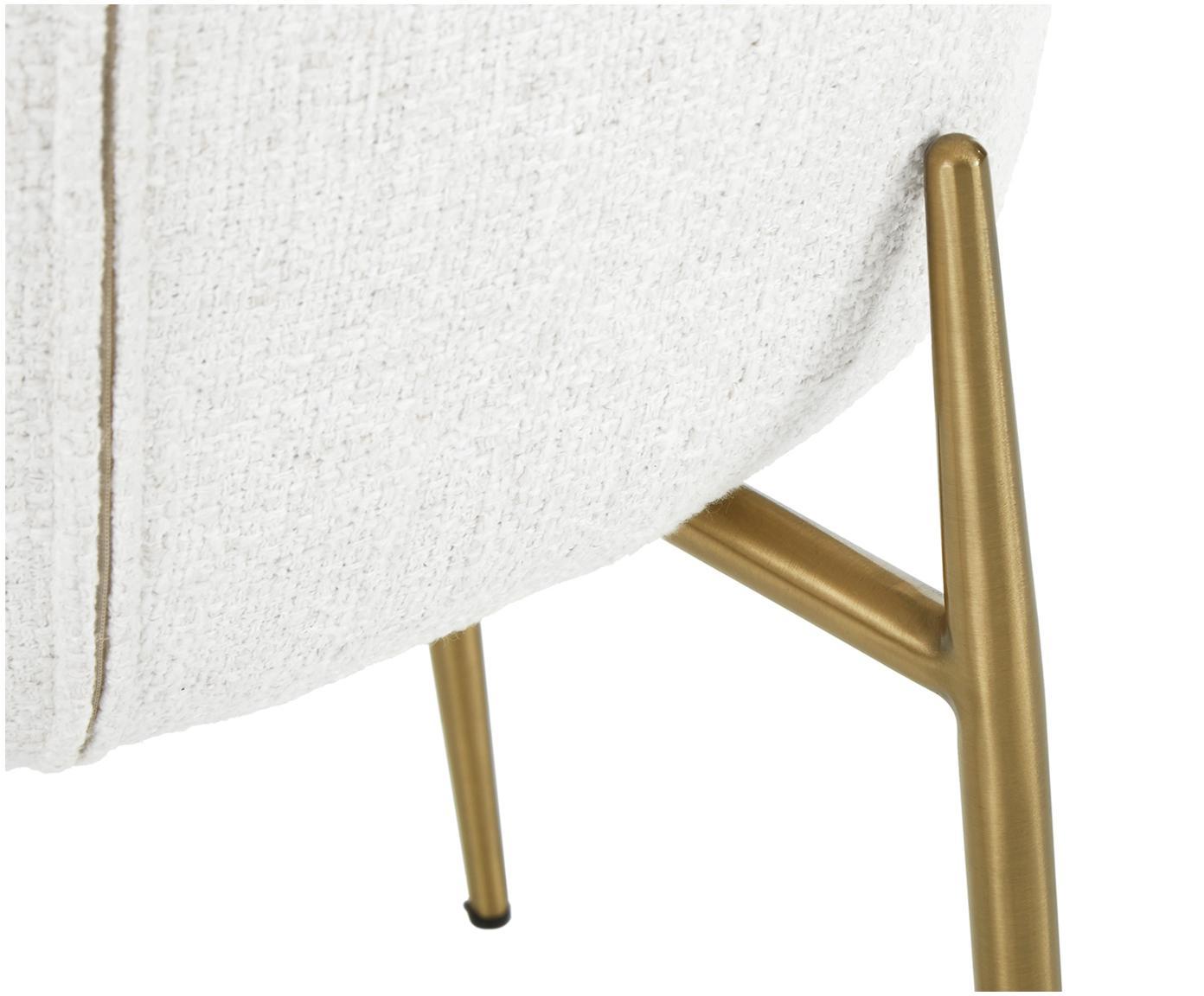 Bouclé stoel Tess, Bekleding: 70% polyester, 20% viscos, Poten: gecoat metaal, Crèmewit, B 48 x D 64 cm