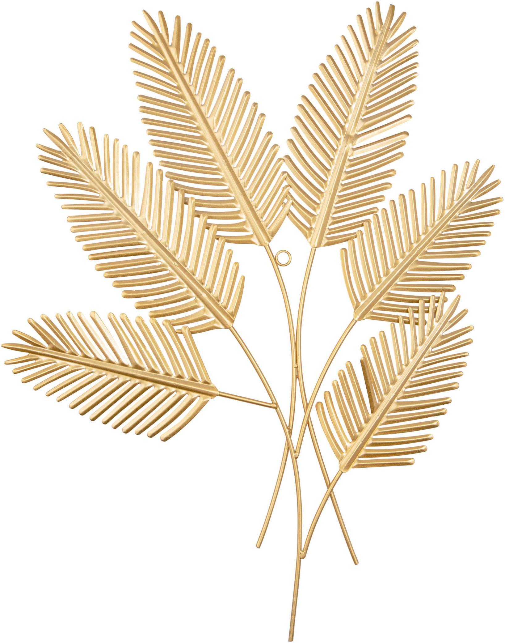 Wandobject Beech Leaves, Gecoat metaal, Messingkleurig, 48 x 62 cm
