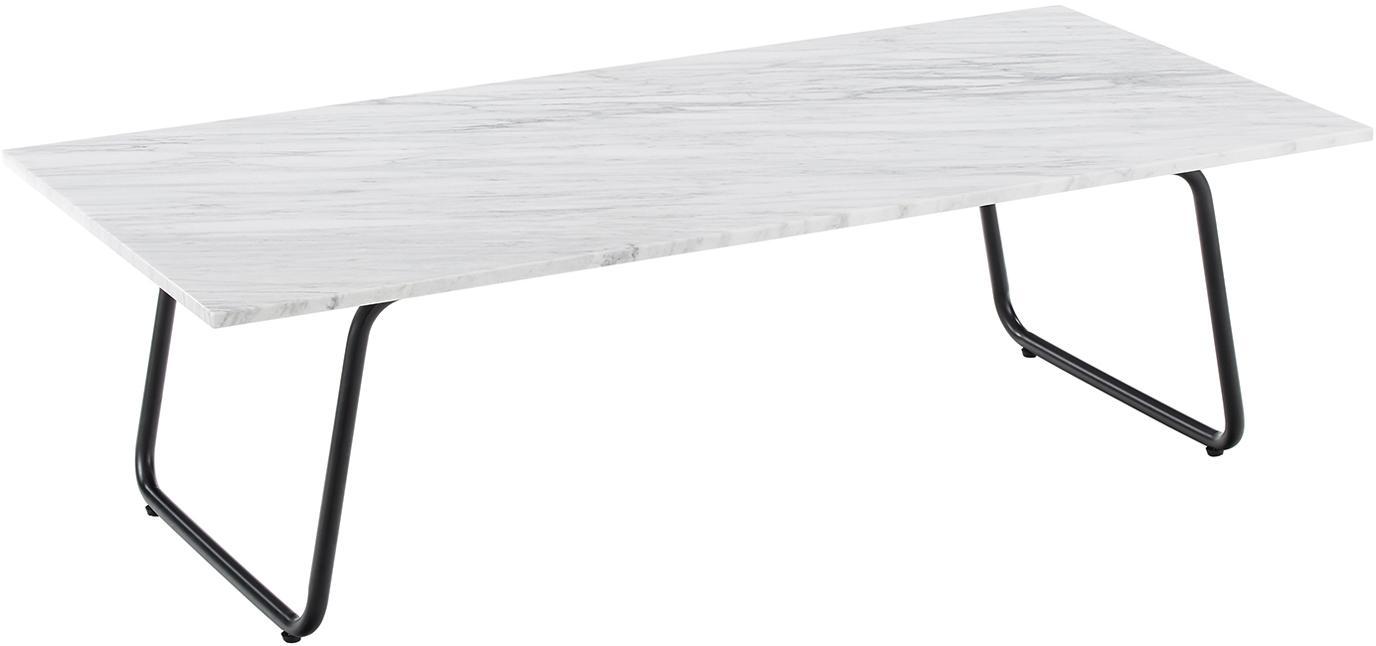 Stolik kawowy z marmuru Mary, Blat: marmur Carrara, Stelaż: metal malowany proszkowo, Blat: białoszary marmur, lekko błyszczący Stelaż: czarny, matowy, S 120 x G 55 cm