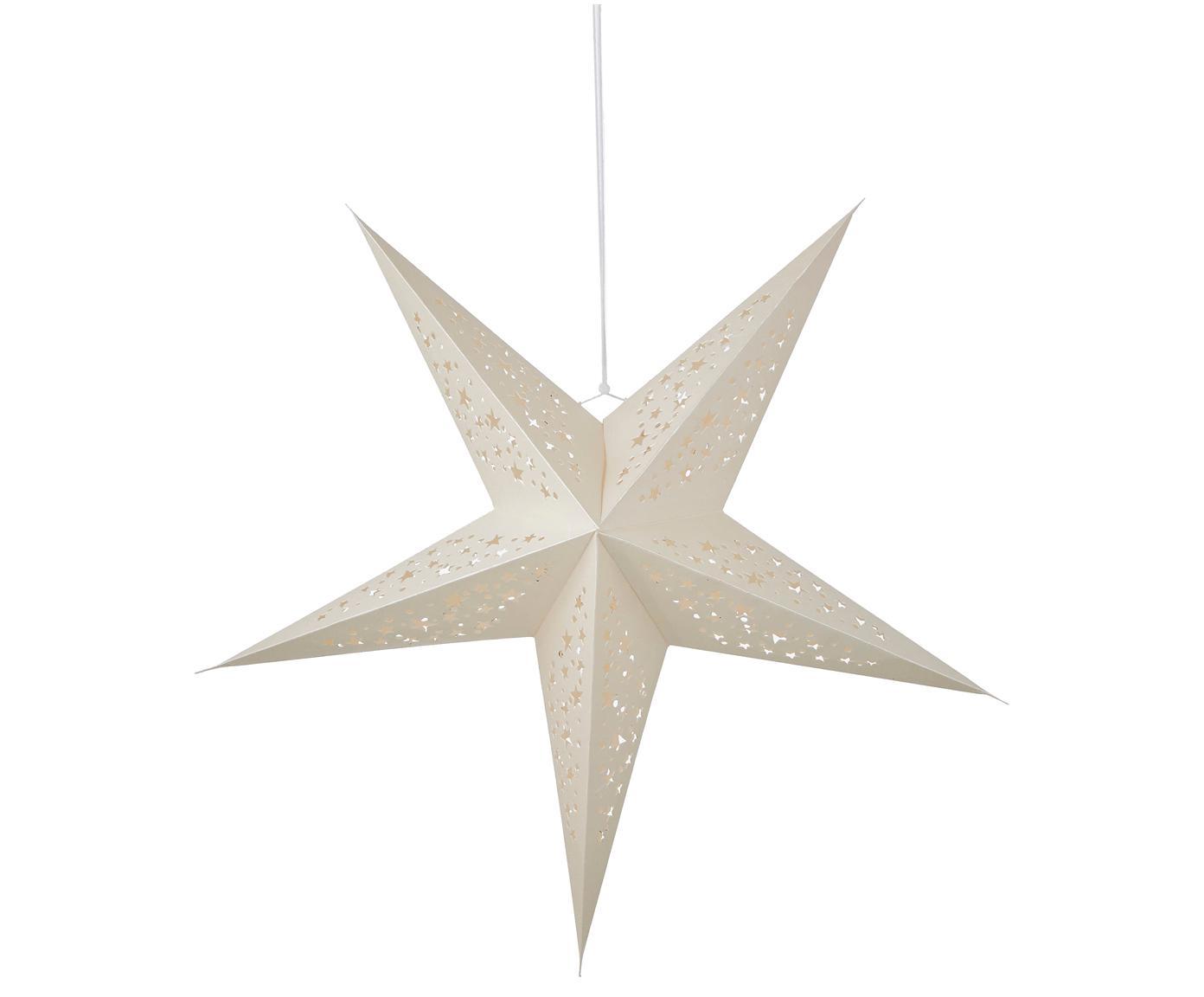 Kerstster Esther, Papier, Wit met glitters, 56 x 56 cm